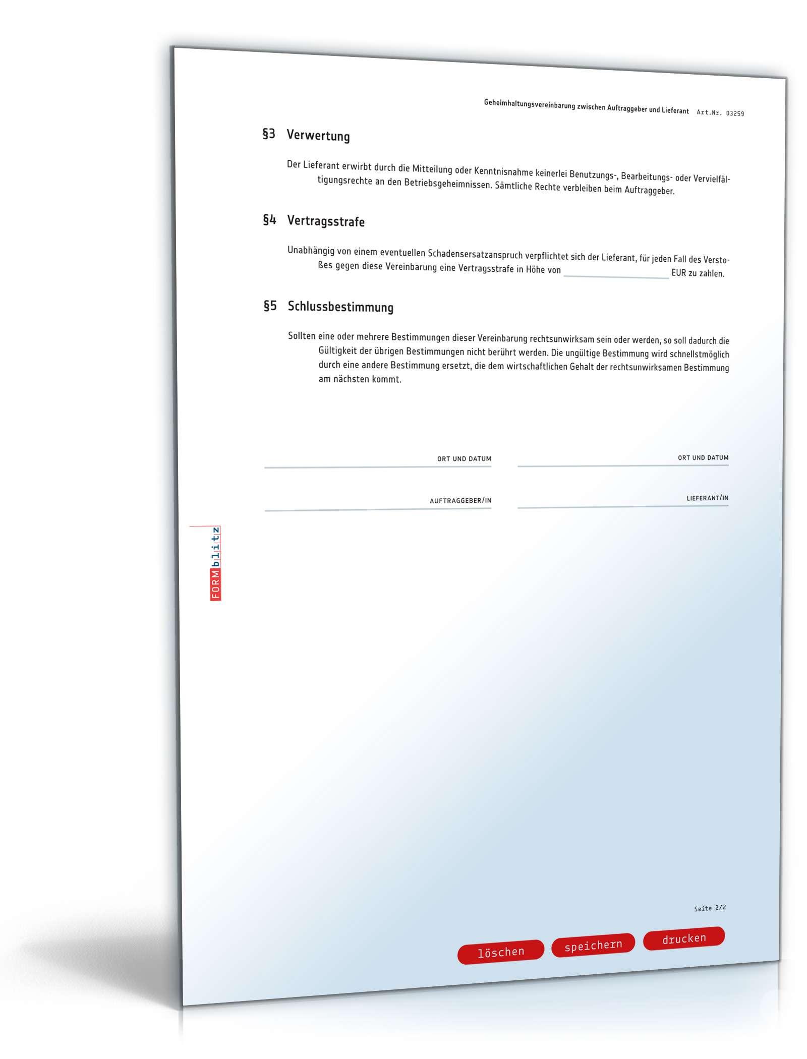 Geheimhaltungsvereinbarung Mit Lieferant Vorlage Zum Download