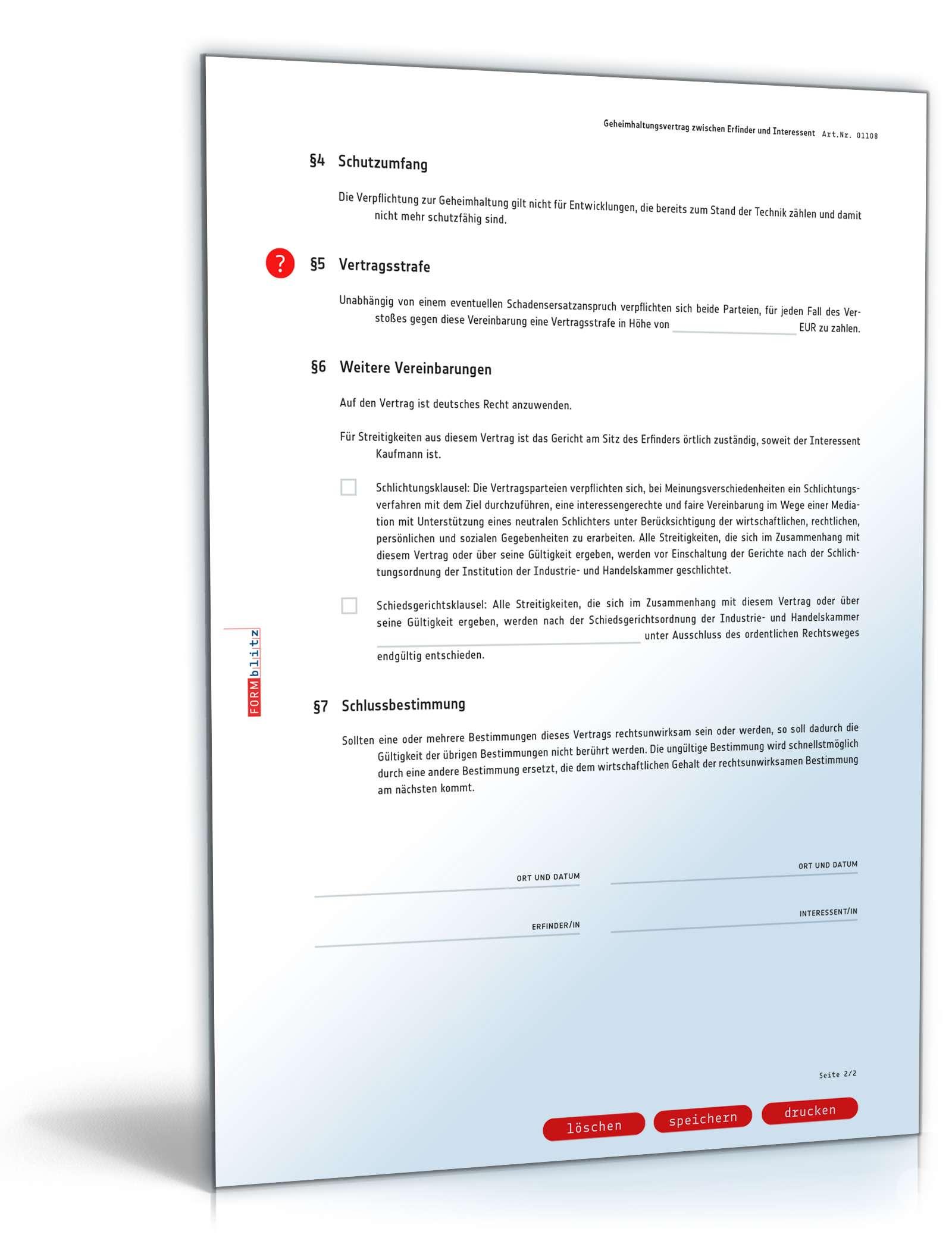 Muster Geheimhaltungsvereinbarung zwischen Erfinder & Unternehmen