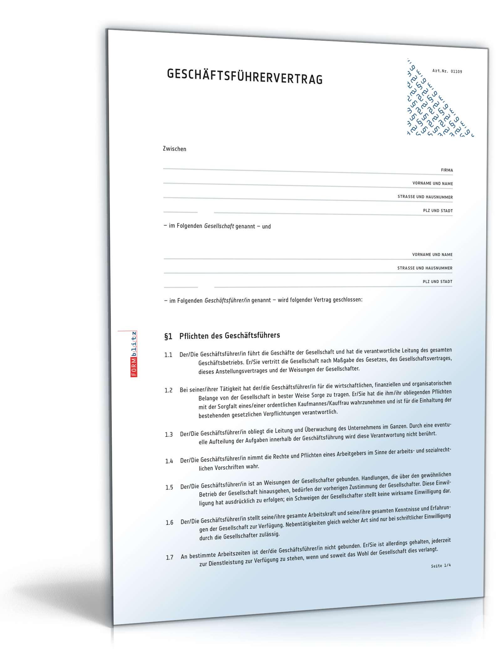 Geschäftsführervertrag Anwaltsgeprüftes Muster Zum Download