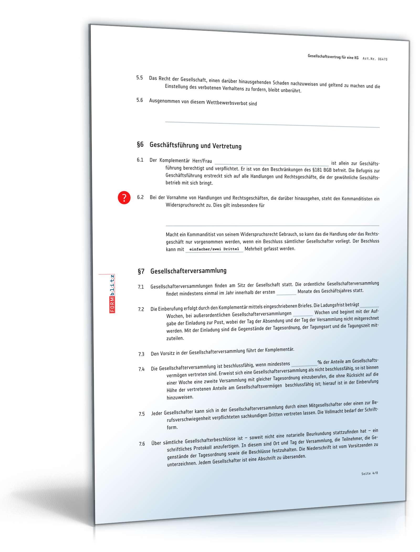 gesellschaftsvertrag kommanditgesellschaft: muster zum download, Einladung