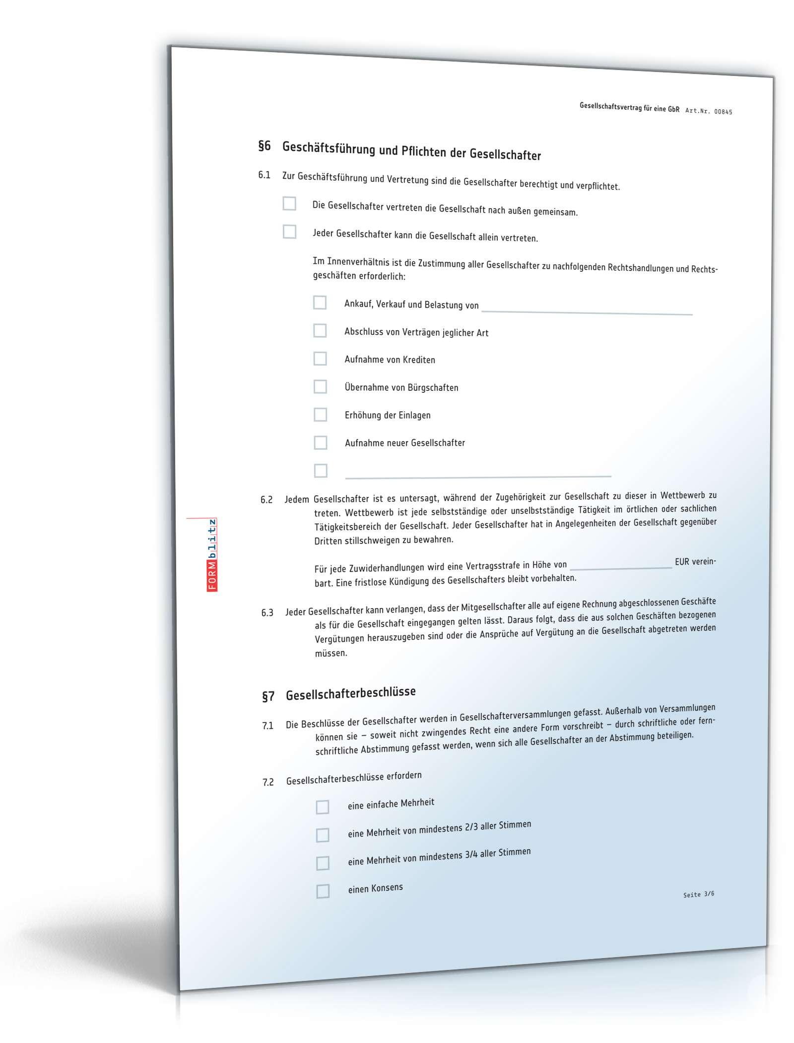 GbR-Gesellschaftsvertrag | Muster für Gründung einer GbR