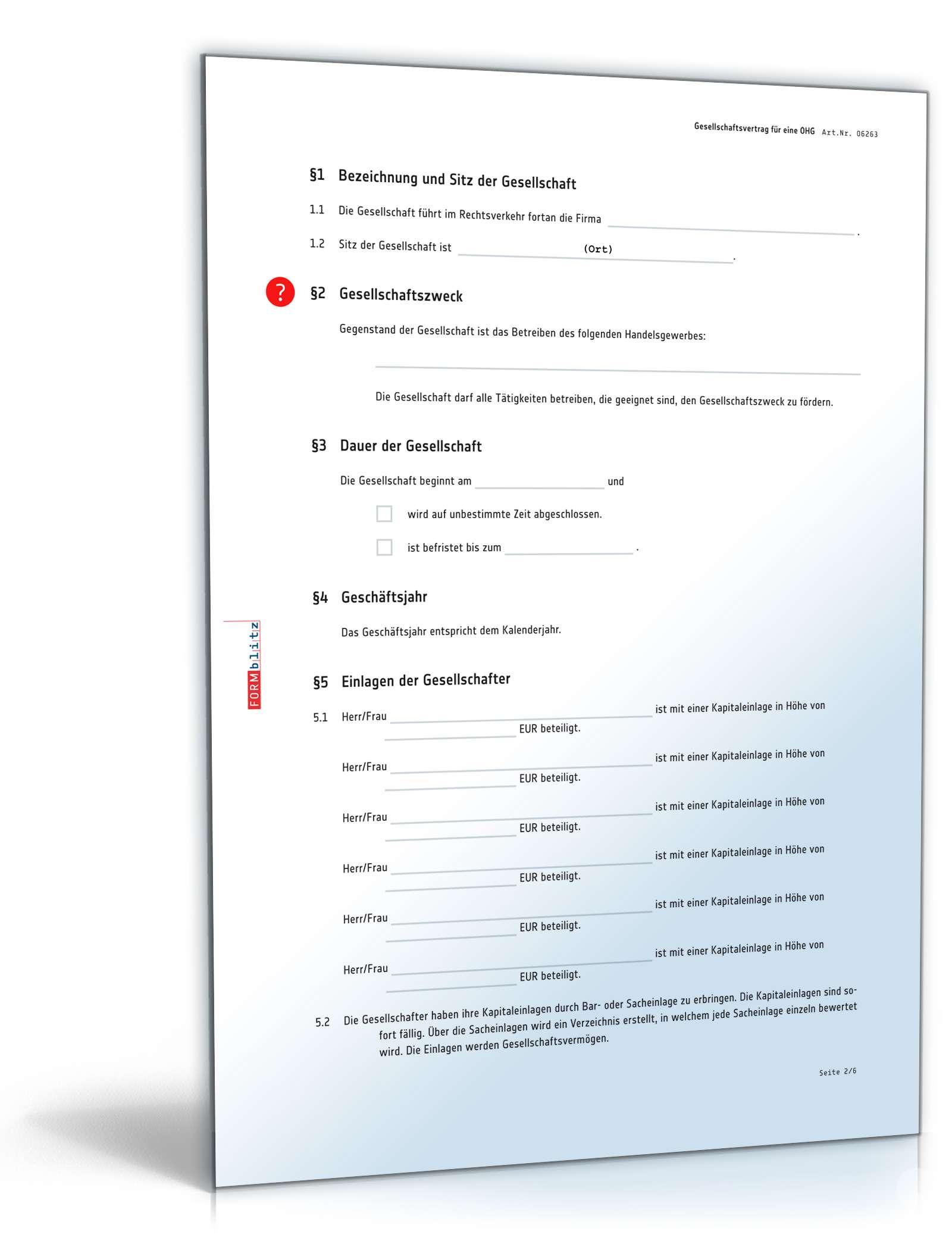 Ohg Gesellschaftsvertrag Rechtssicheres Muster Zum Download