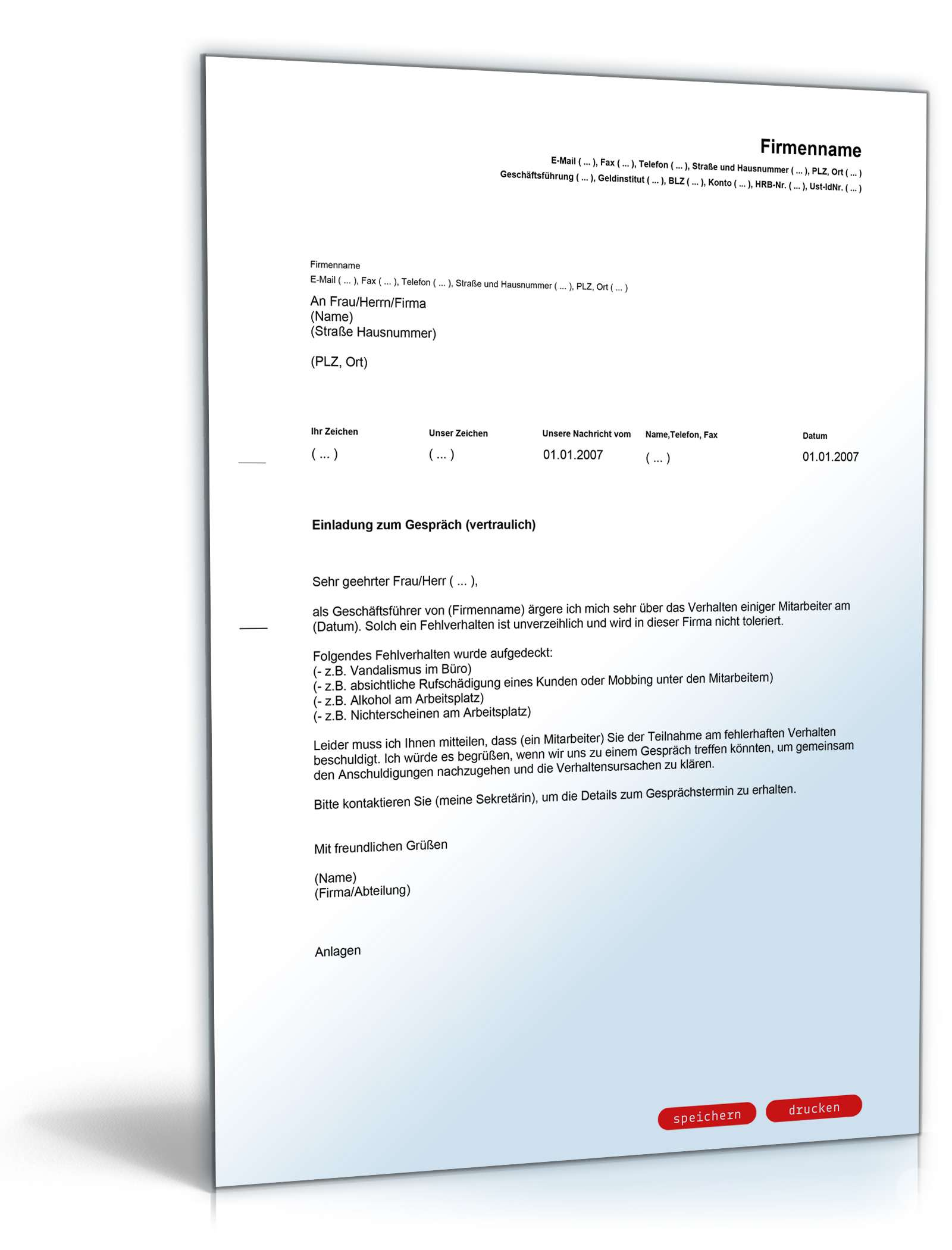 einladung vertrauliches gespräch | vorlage zum download, Einladung