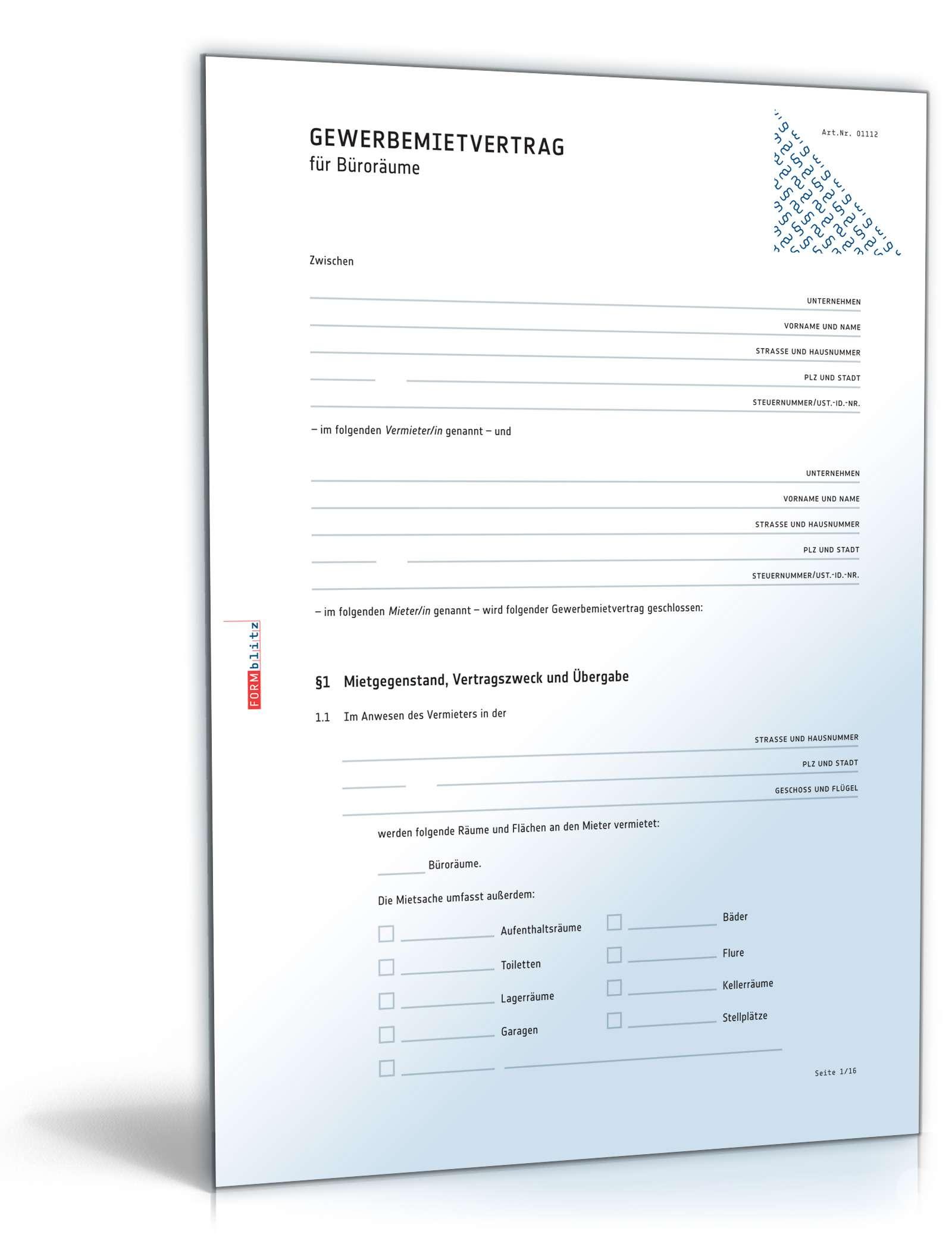 Gewerbemietvertrag Buroraume Rechtssicheres Muster Downloaden