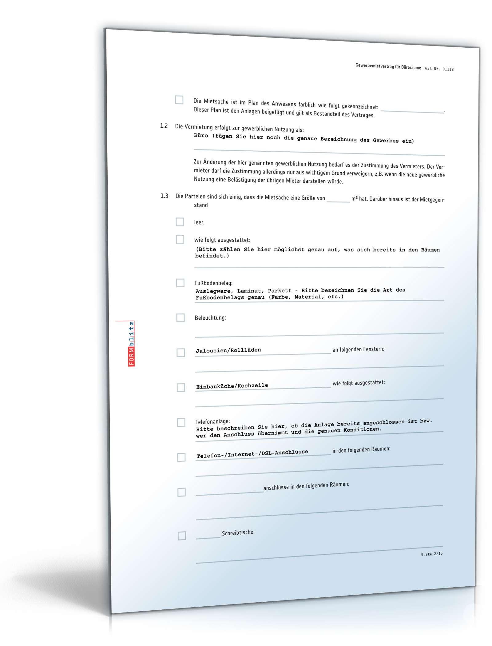 Gewerbemietvertrag Büroräume Rechtssicheres Muster Downloaden