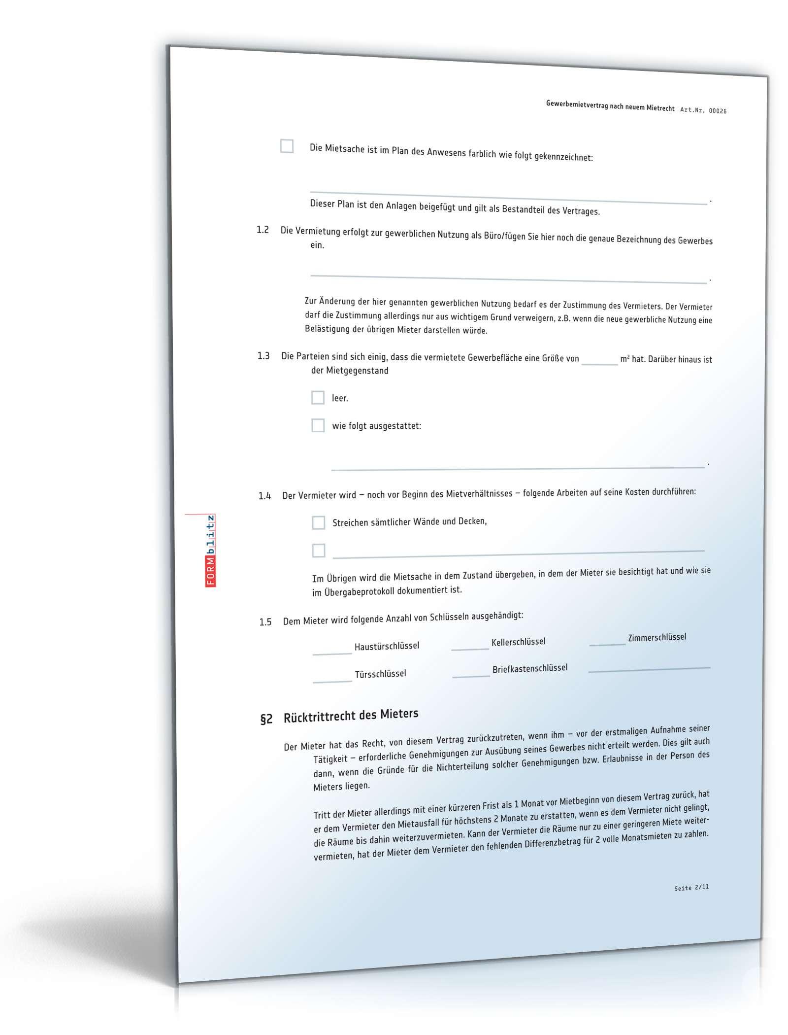 Gewerbemietvertrag Muster als PDF oder DOC zum Download