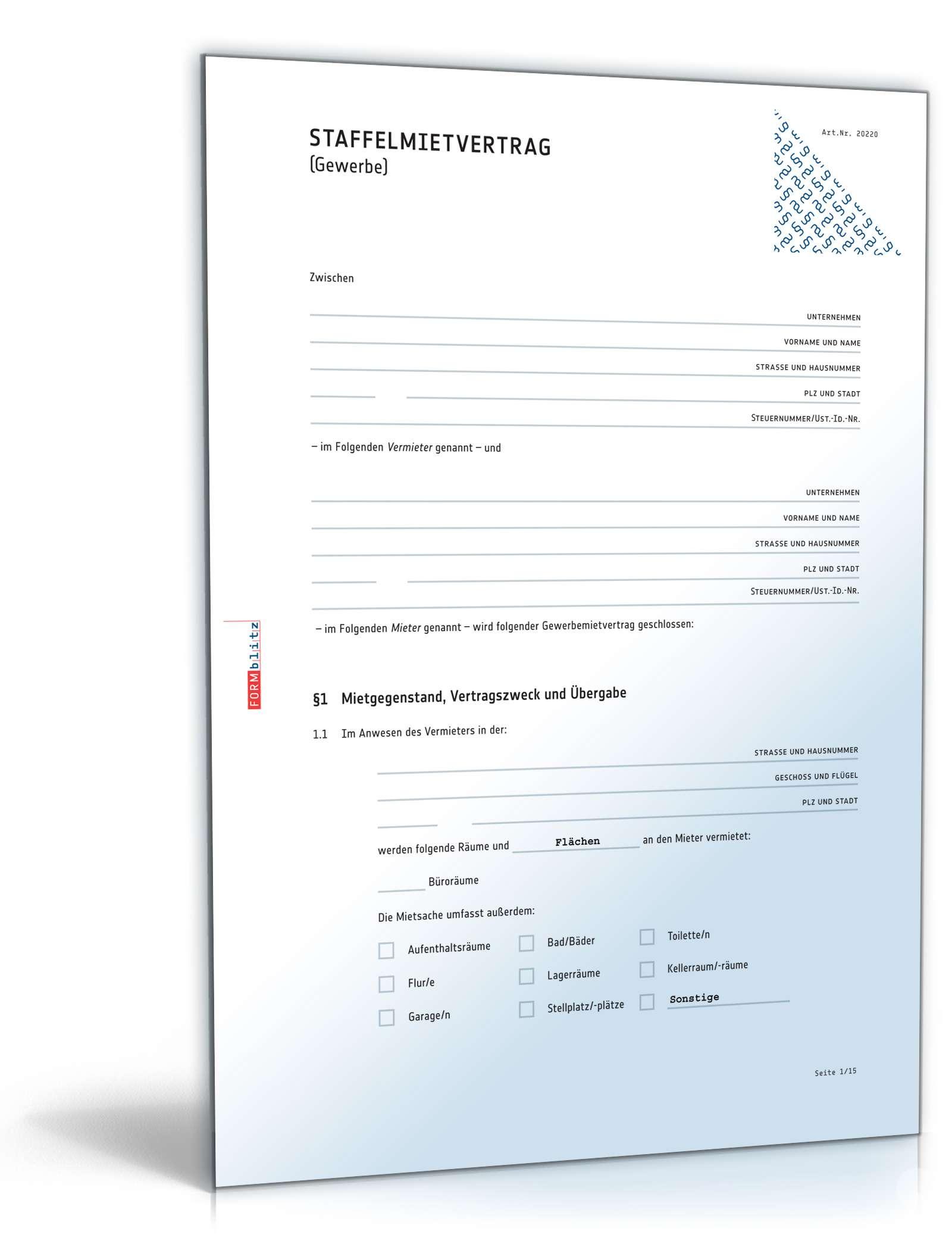 Staffelmietvertrag Gewerbe Rechtssicheres Muster Zum Download