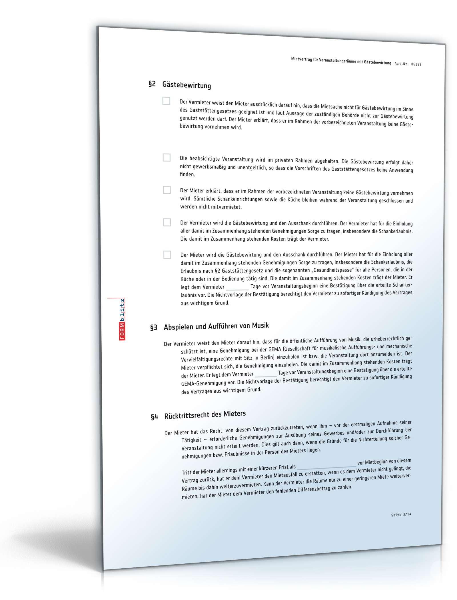 Mietvertrag Veranstaltungsraum Muster Zum Download