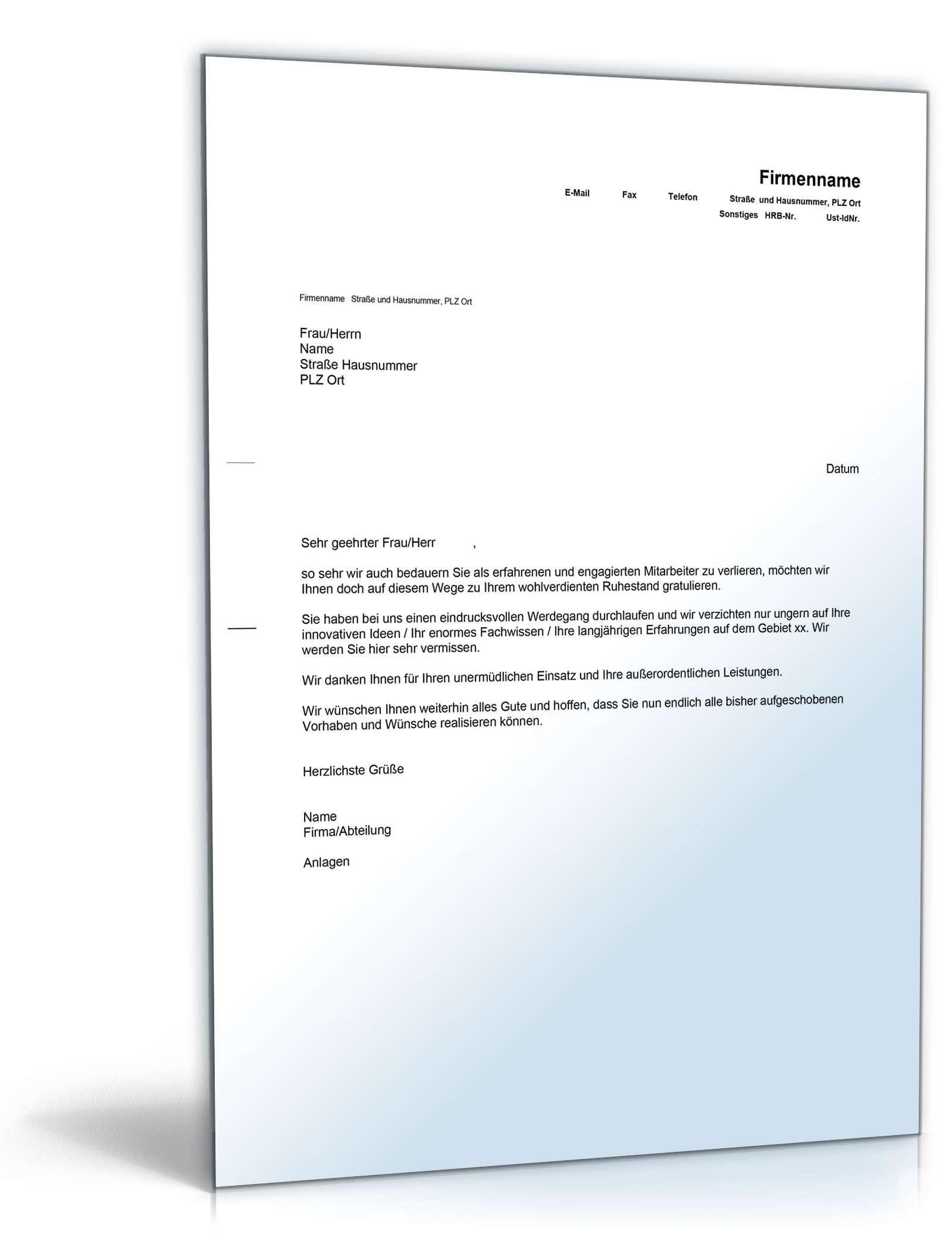 Musterbriefe Geschäftsbriefe : Glückwunsch ruhestand englisch deutsch muster zum download