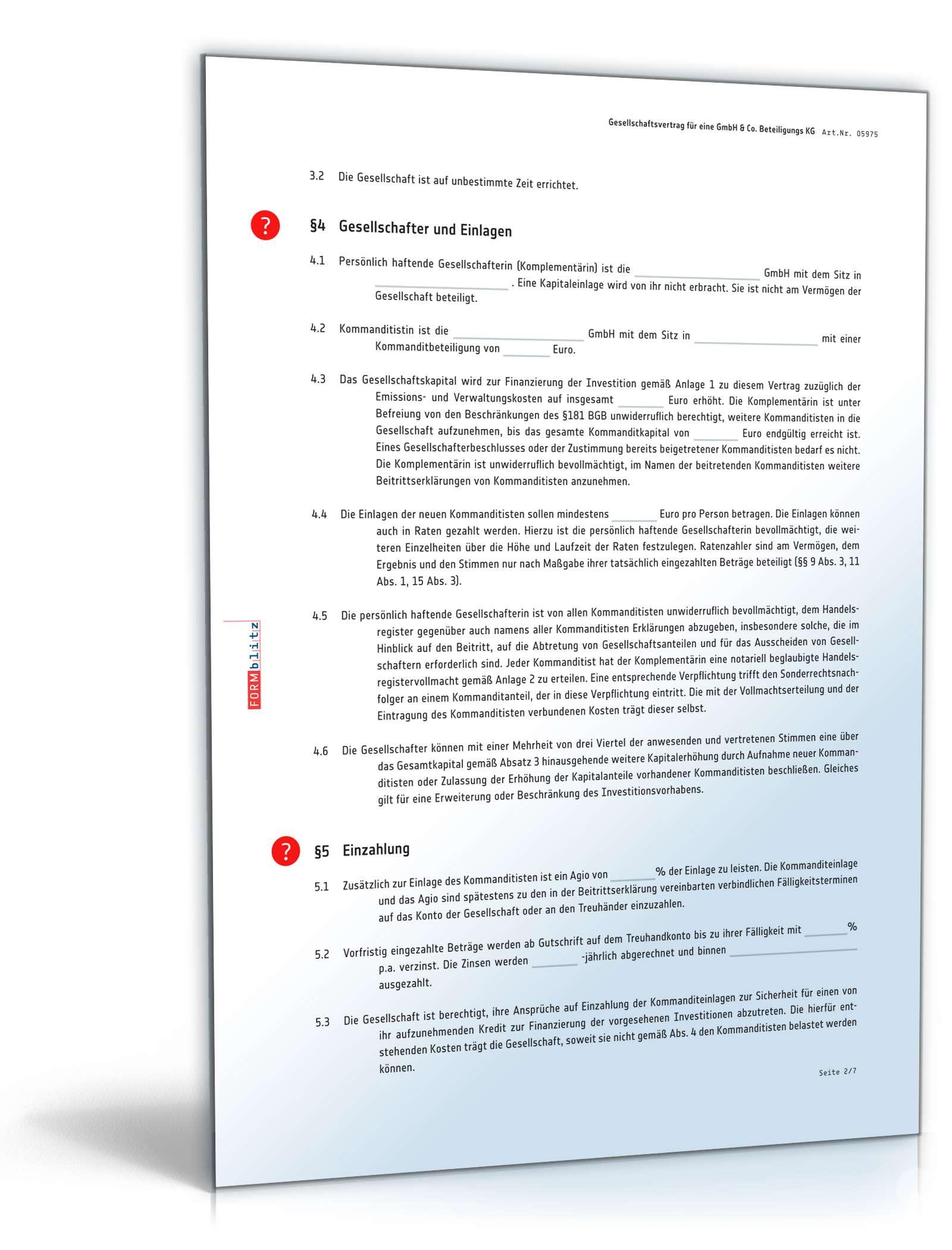 Gesellschaftsvertrag Gmbh Co Kg Muster Zum Download