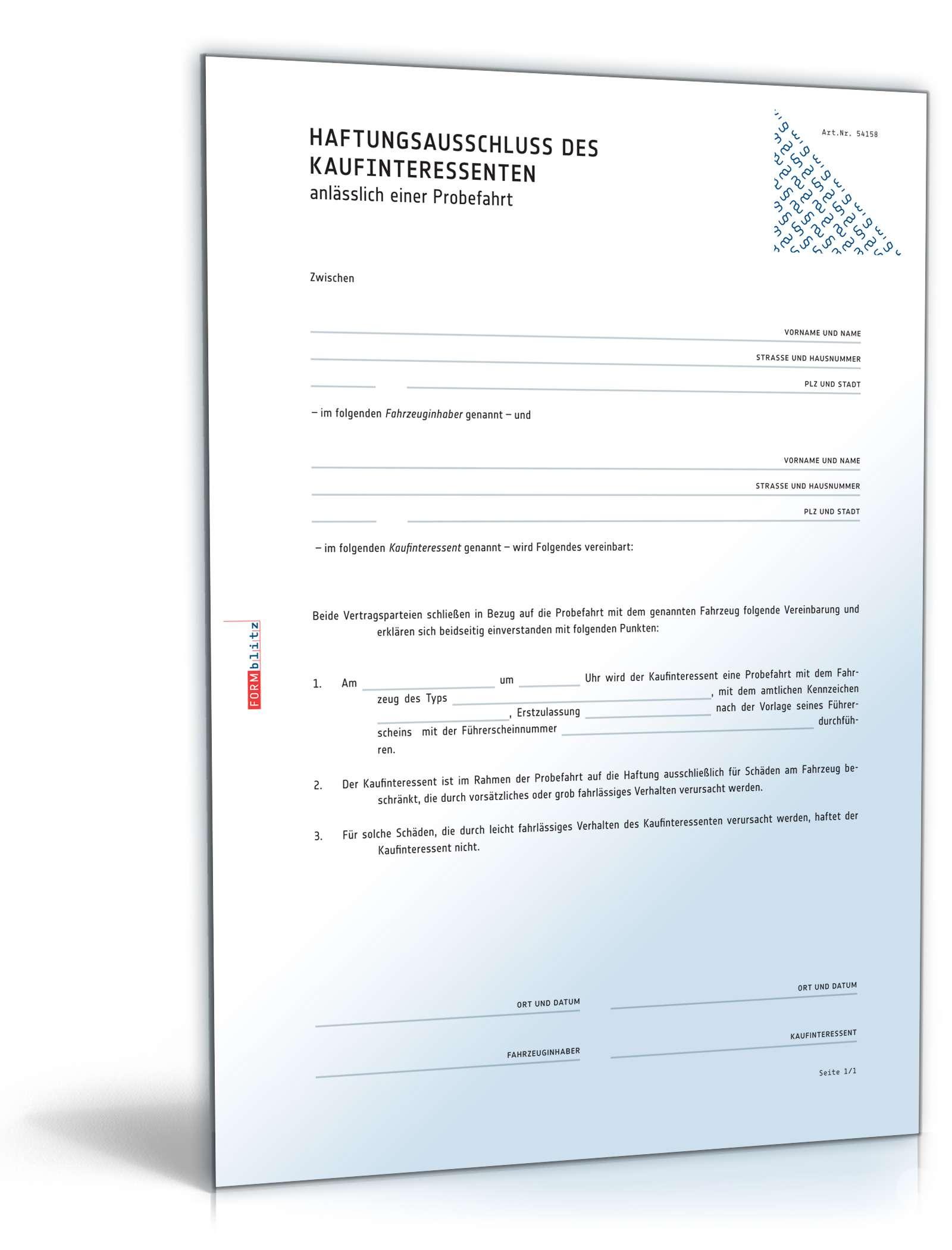 Haftungsausschluss Bei Probefahrten Muster Zum Download