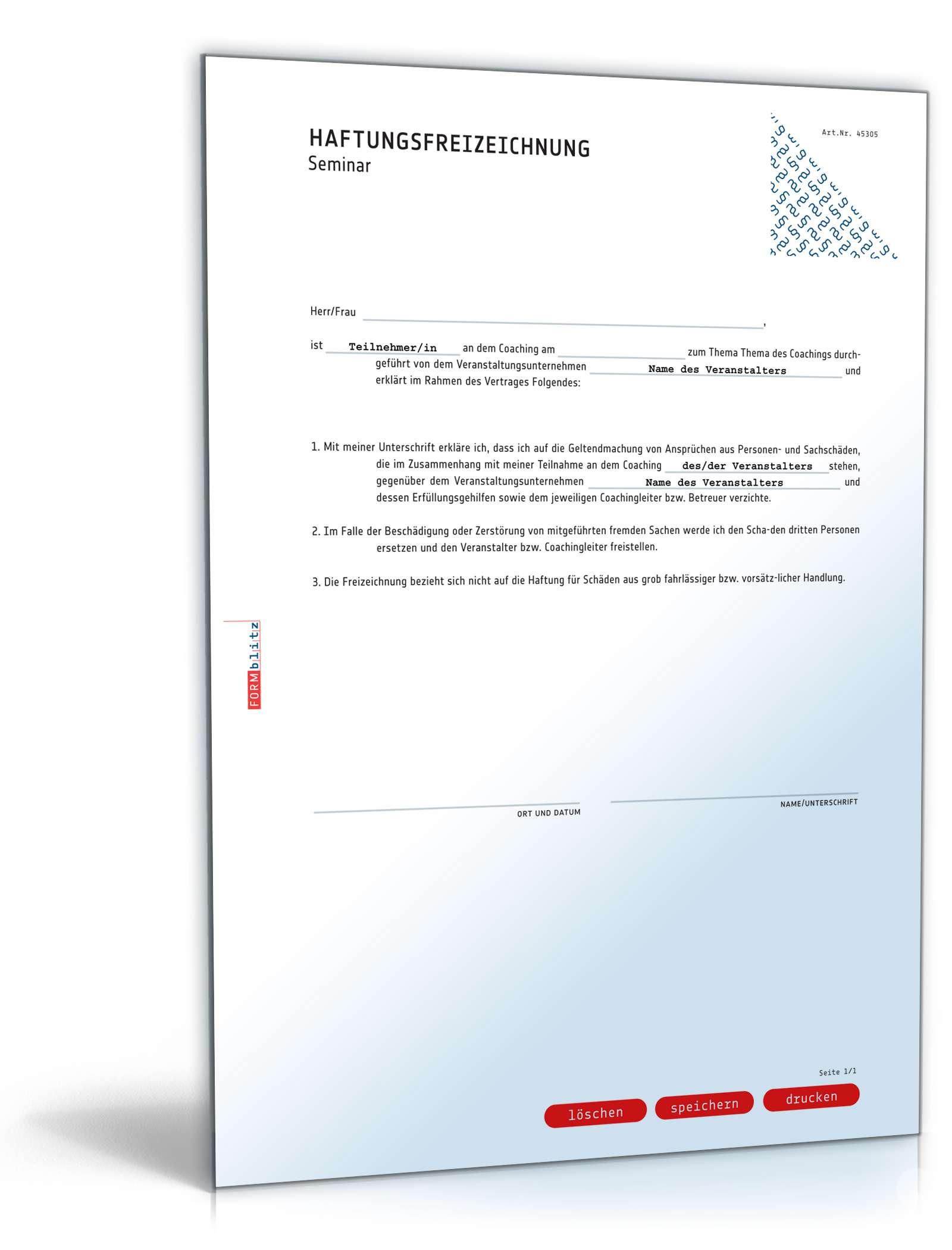 Haftungsfreizeichnung Rechtssichere Vorlage Zum Download