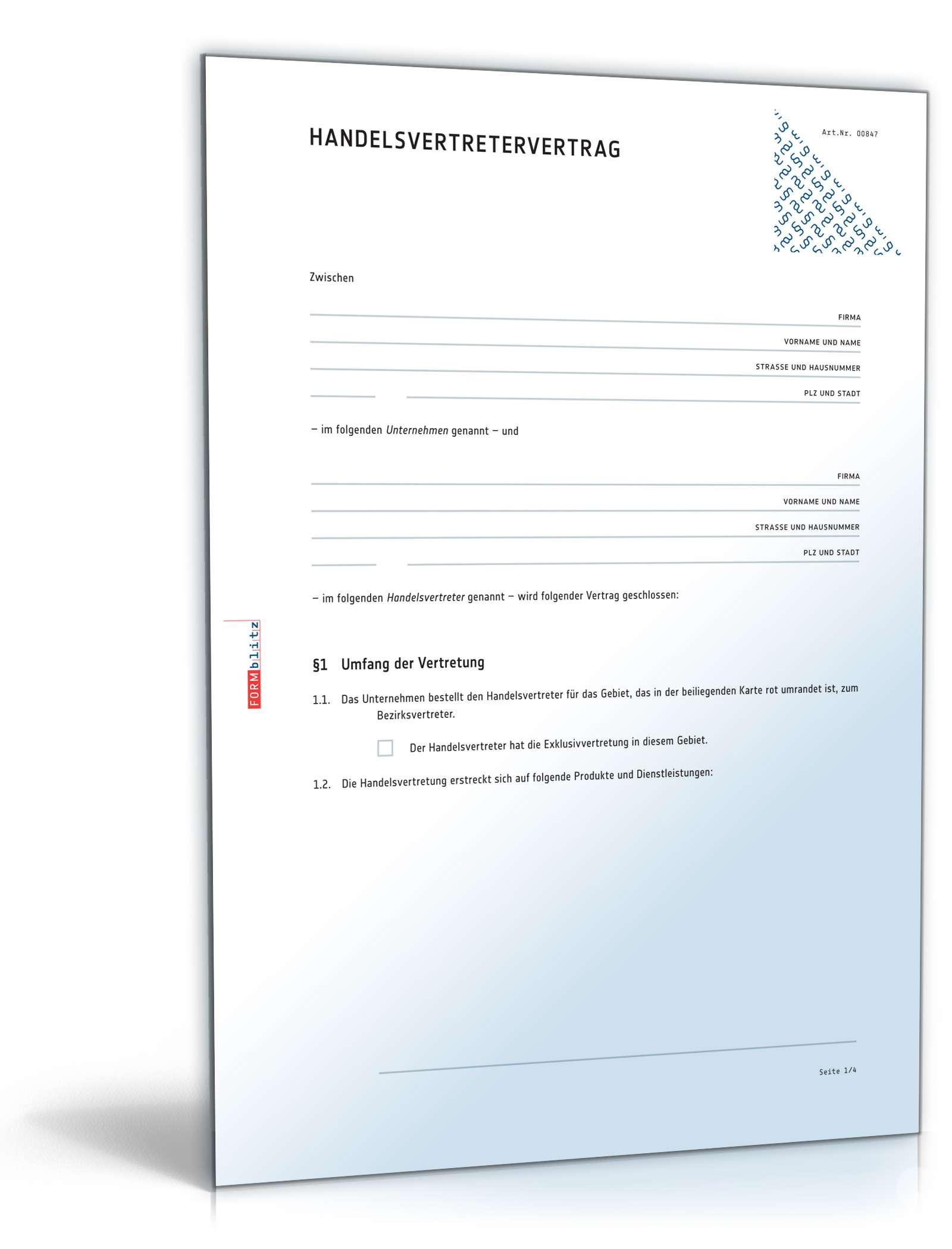 Muster Handelsvertretervertrag Vorlage Zum Download 14