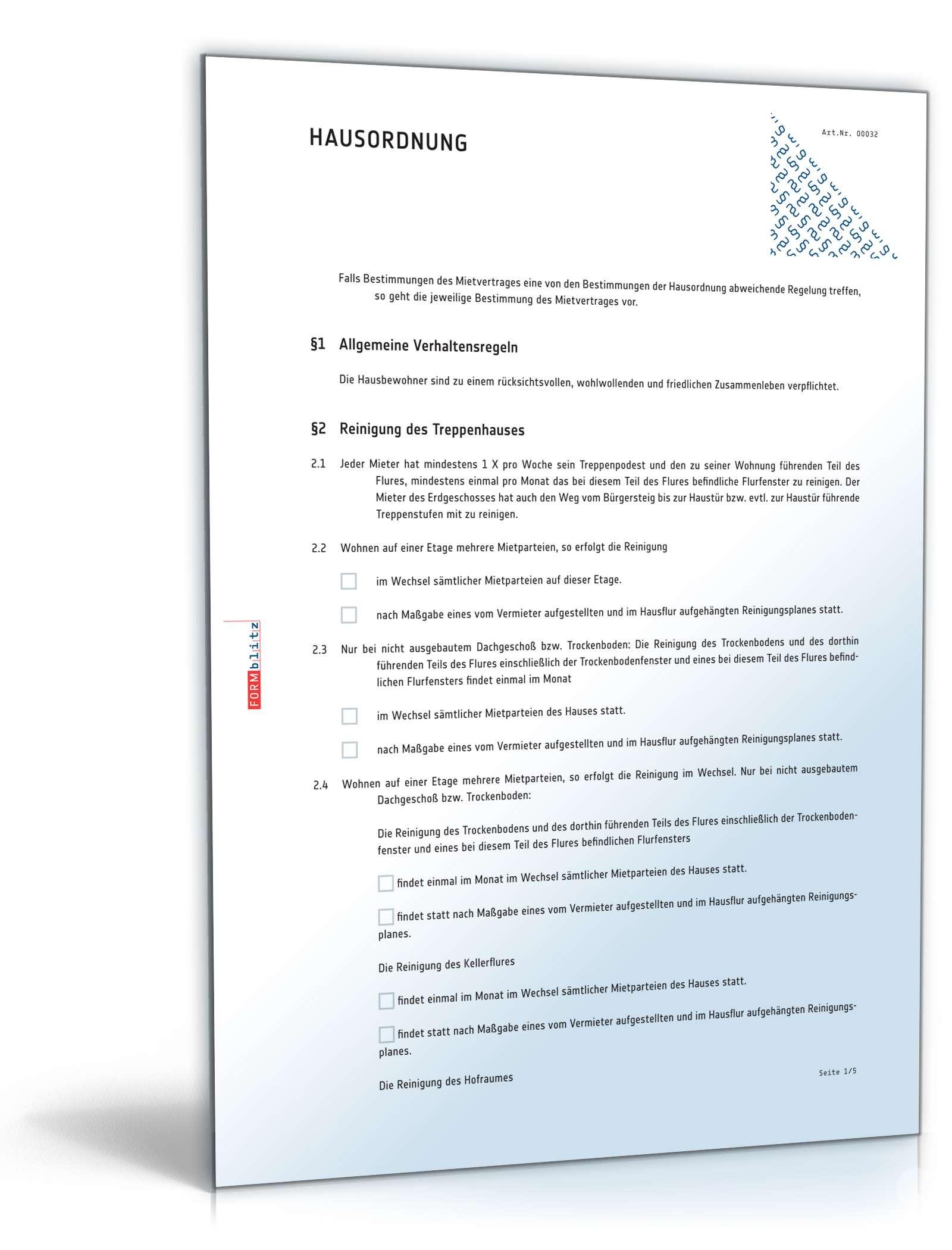 Hausordnung Aushang Muster Zum Download