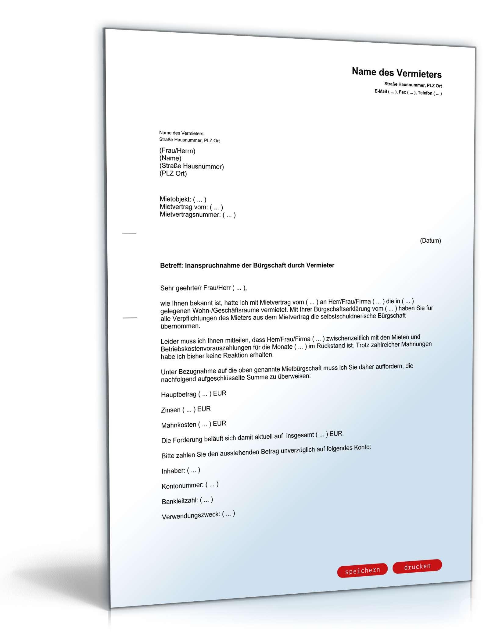 Musterbriefe Kostenlos Geschäftsbriefe : Inanspruchnahme bürgschaft vorlage zum download