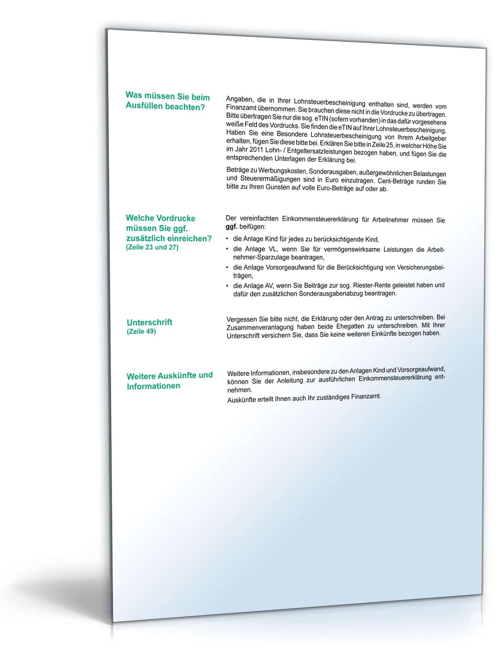 2011 pdf steuererklarung formular