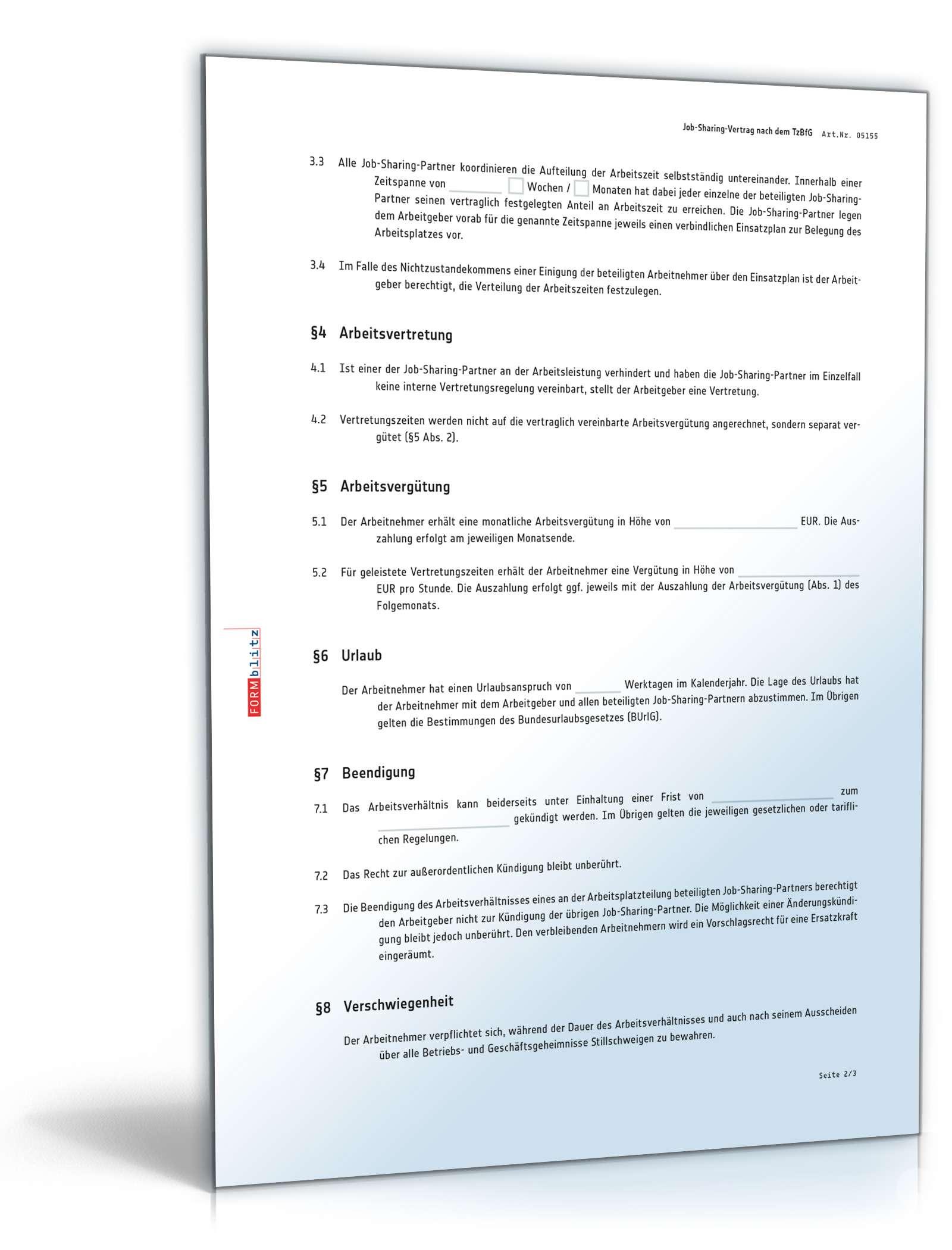Job Sharing Vertrag Anwaltsgeprüftes Muster Zum Download