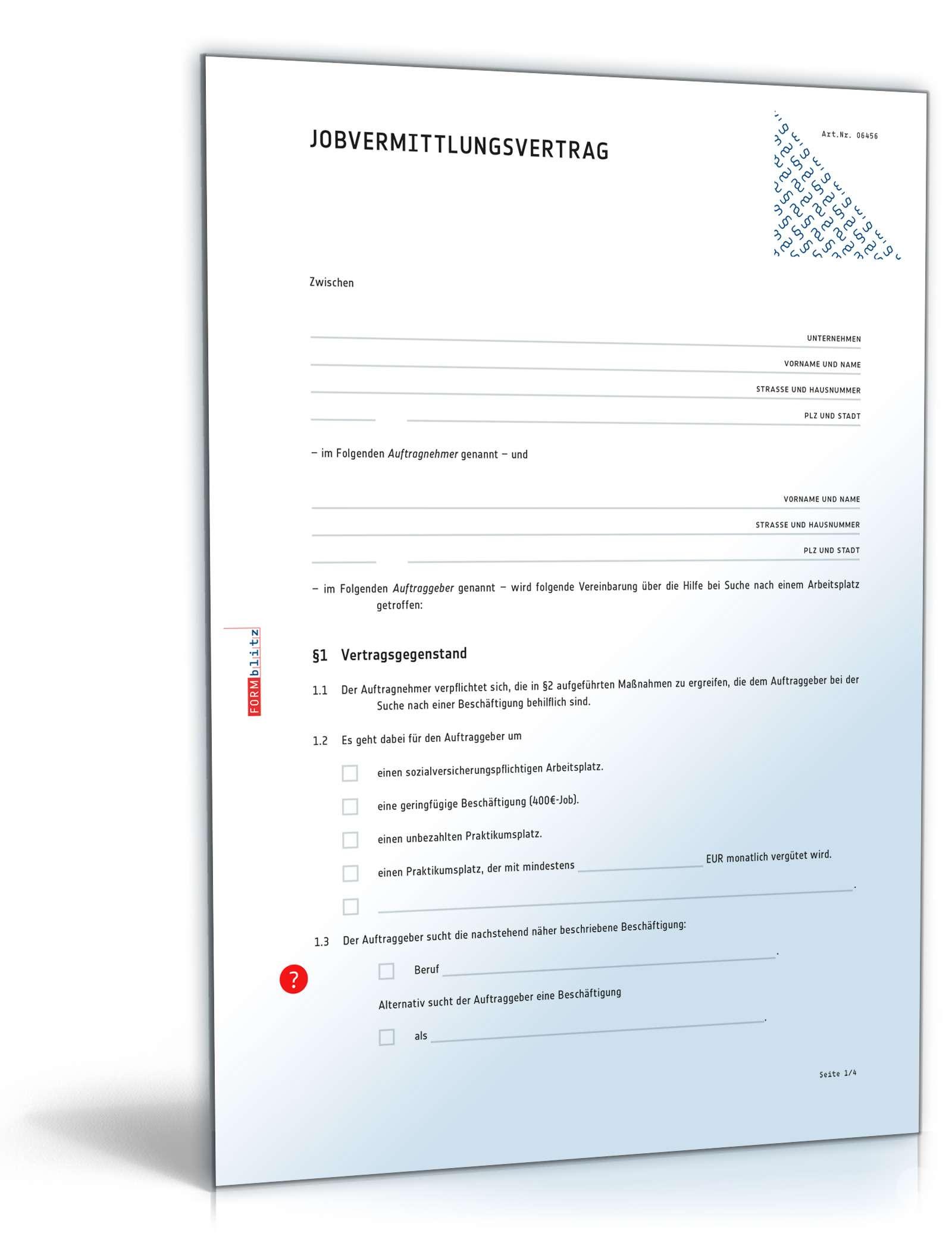 Vertrag Jobvermittlung Rechtssicheres Muster Zum Download