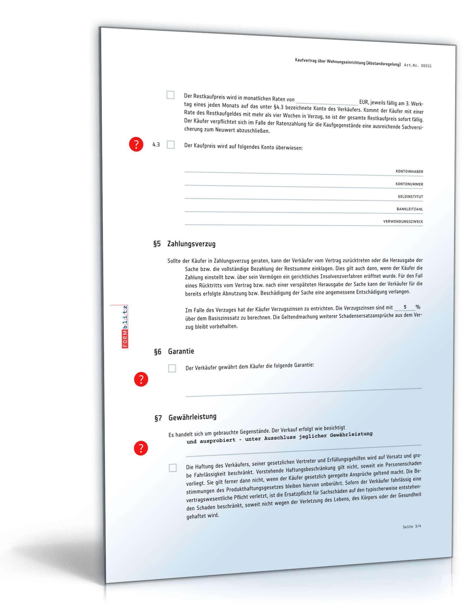 Kaufvertrag Wohnungseinrichtung | Muster zum Download