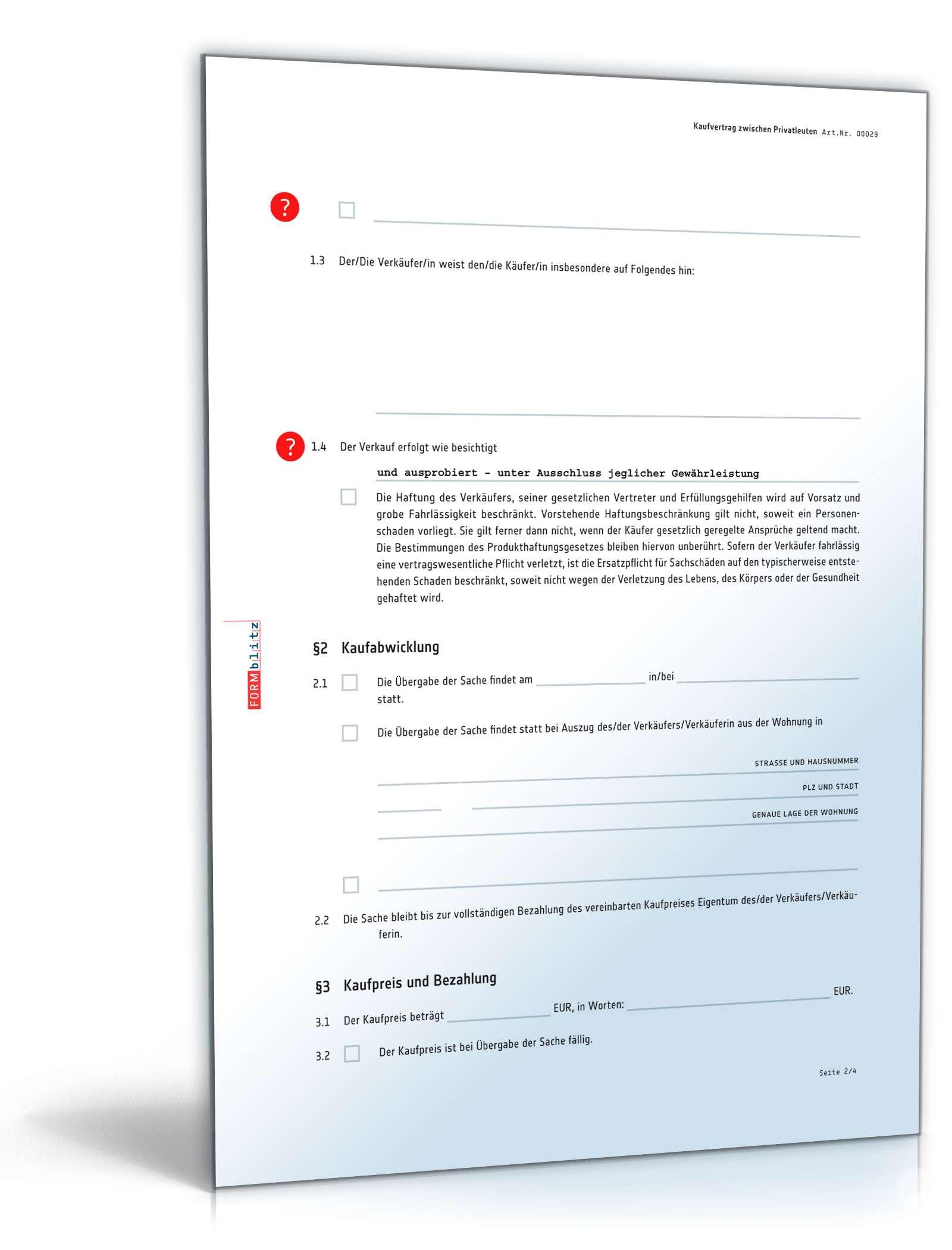 Kaufvertrag zwischen Privatleuten: Muster zum Download