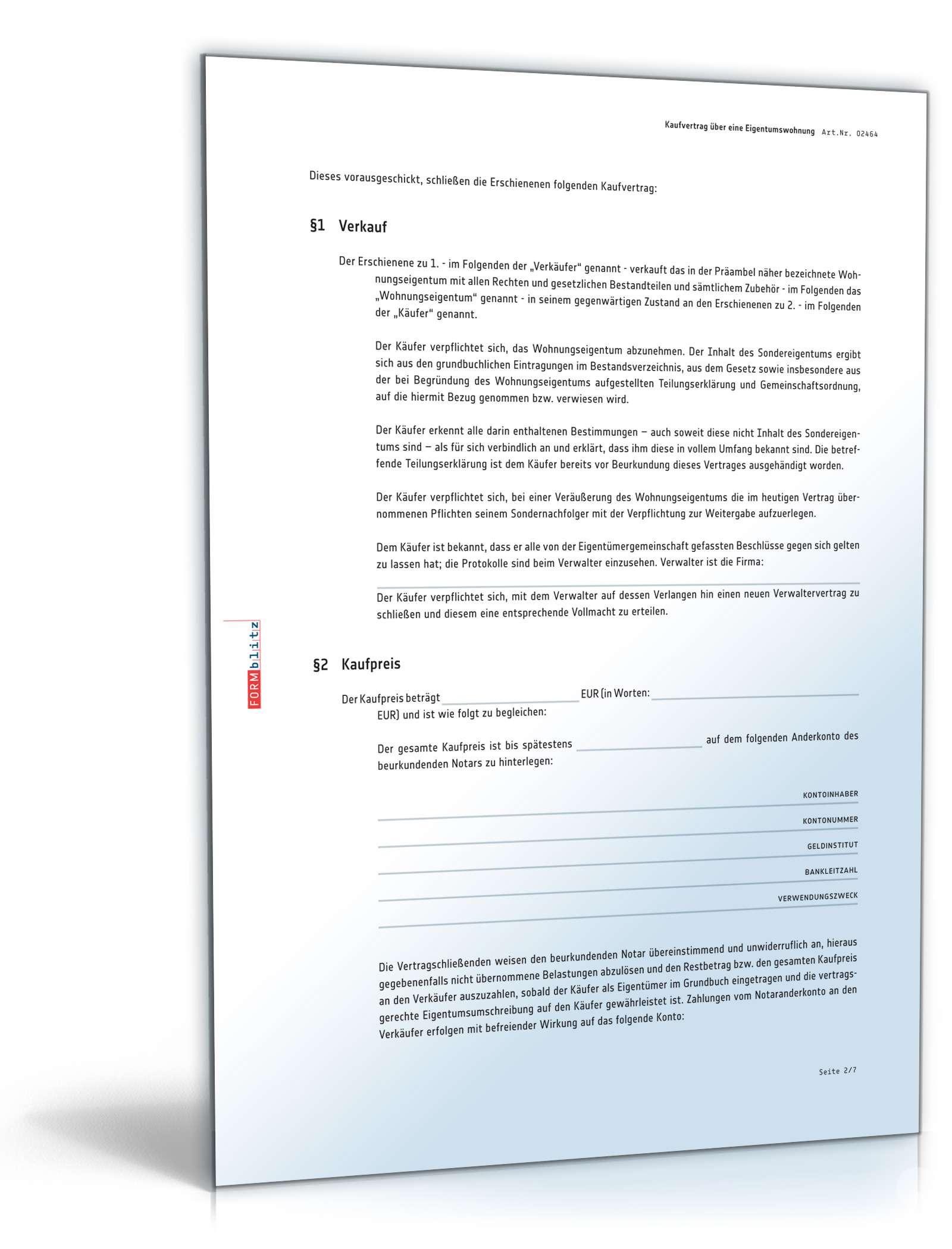 Kaufvertrag Eigentumswohnung | Muster zum Download