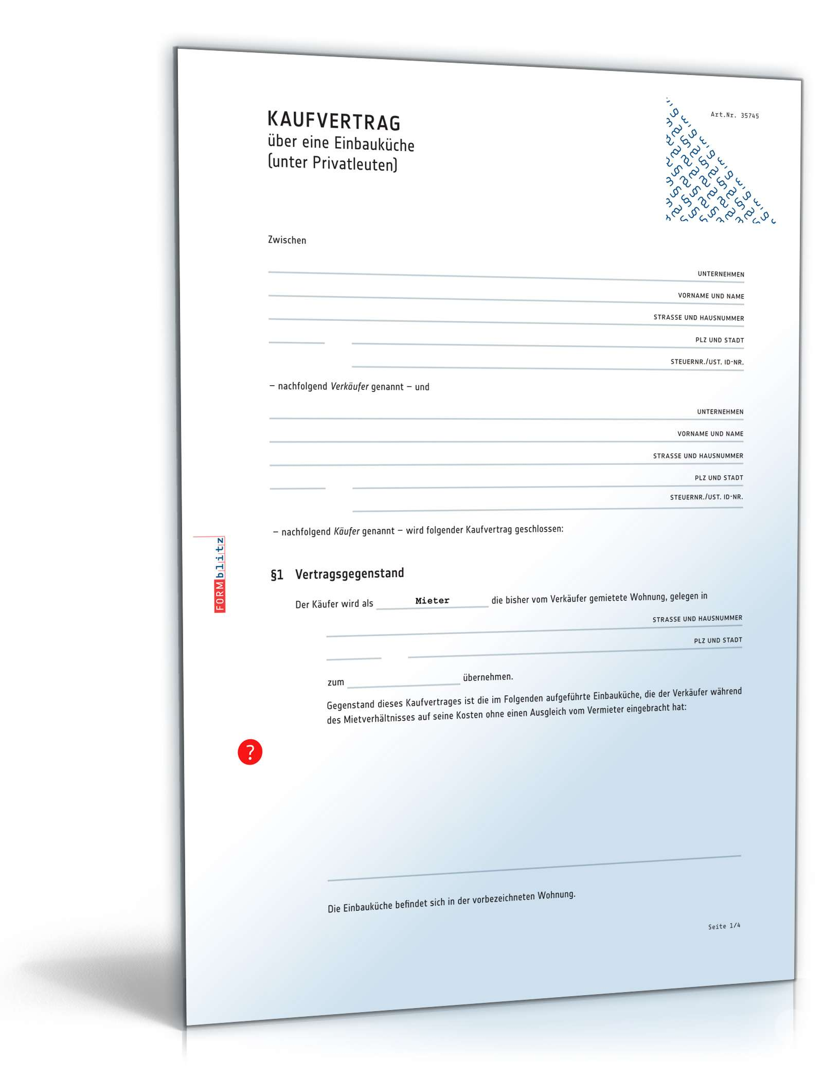 Kaufvertrag küche pdf  Kaufvertrag Küche | Rechtssicheres Muster zum Download