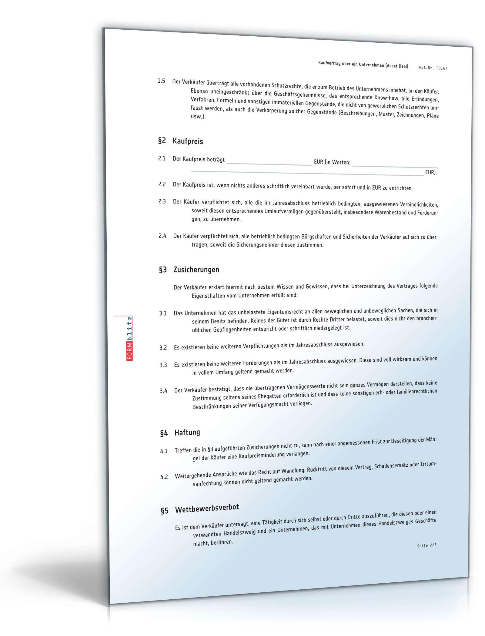 Unternehmenskaufvertrag Muster Für Asset Deal Zum Download