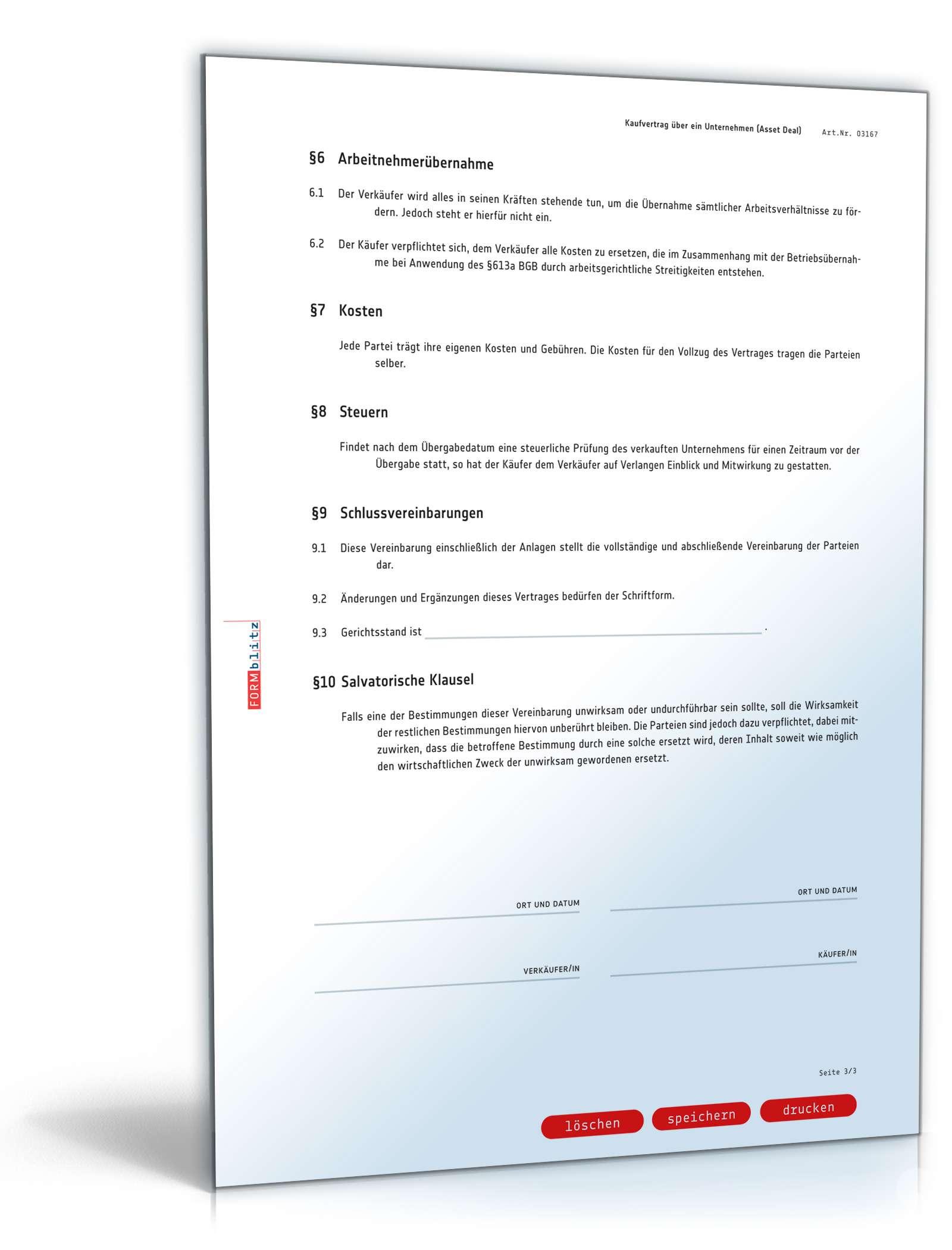 Unternehmenskaufvertrag | Muster für Asset Deal zum Download