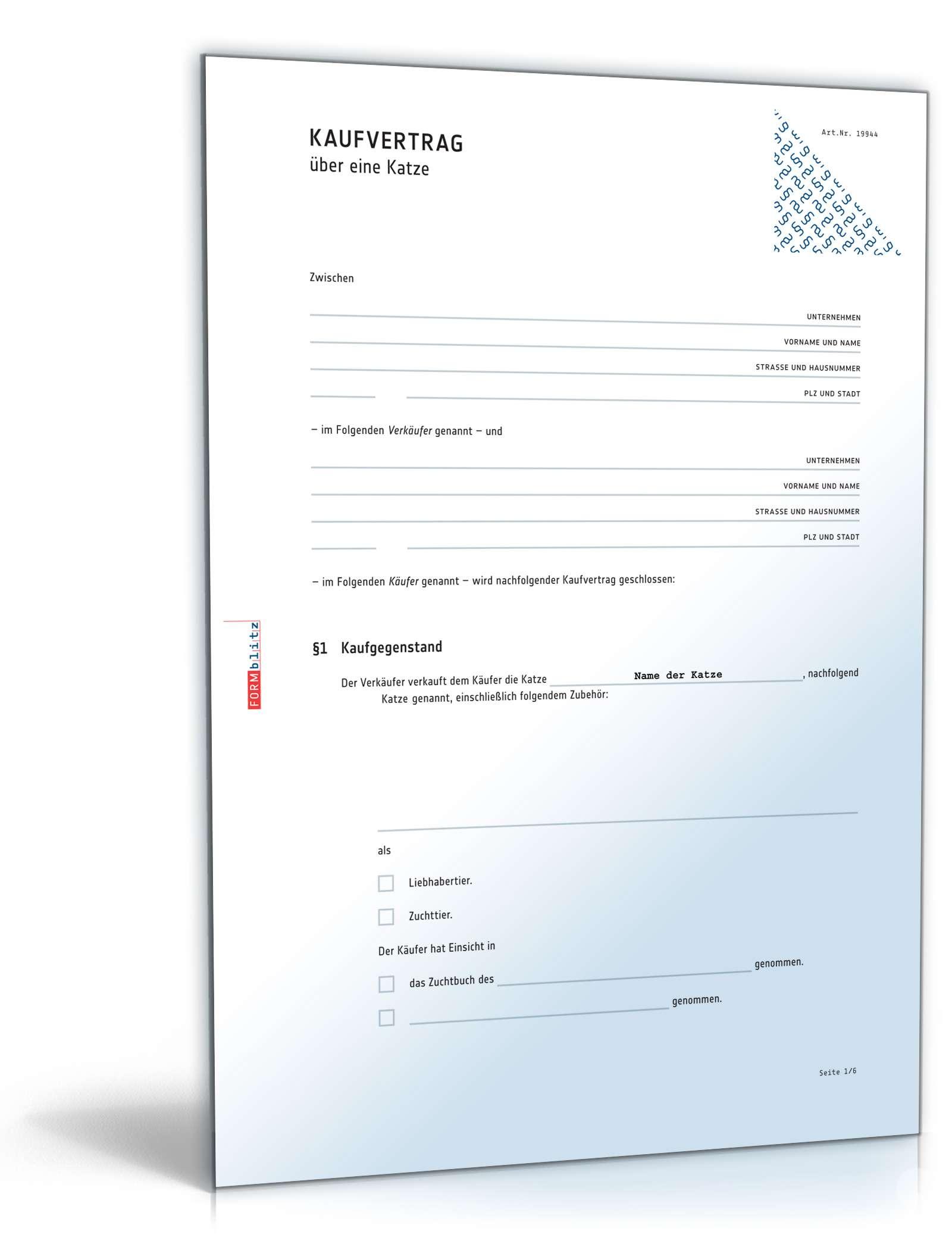 kaufvertrag katze rechtssichere vorlage zum download - Grundstuckskaufvertrag Muster