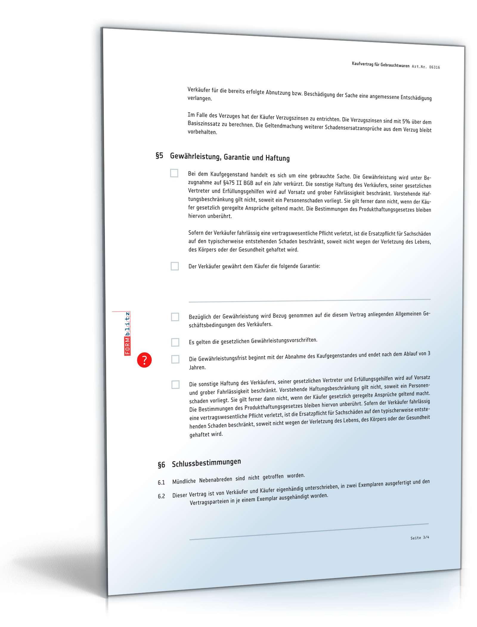 Kaufvertrag Verbrauchsgüterkauf Vorlage Zum Download