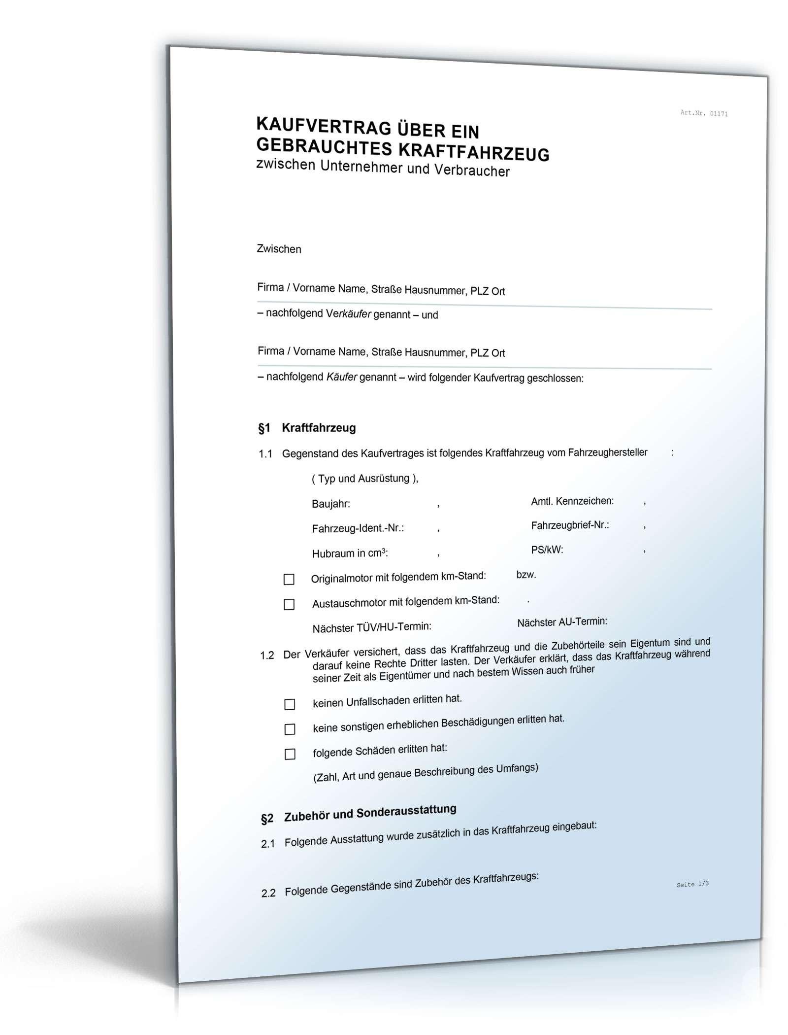Kfz-Kaufvertrag gewerblich: Rechtssichere Vorlage downloaden