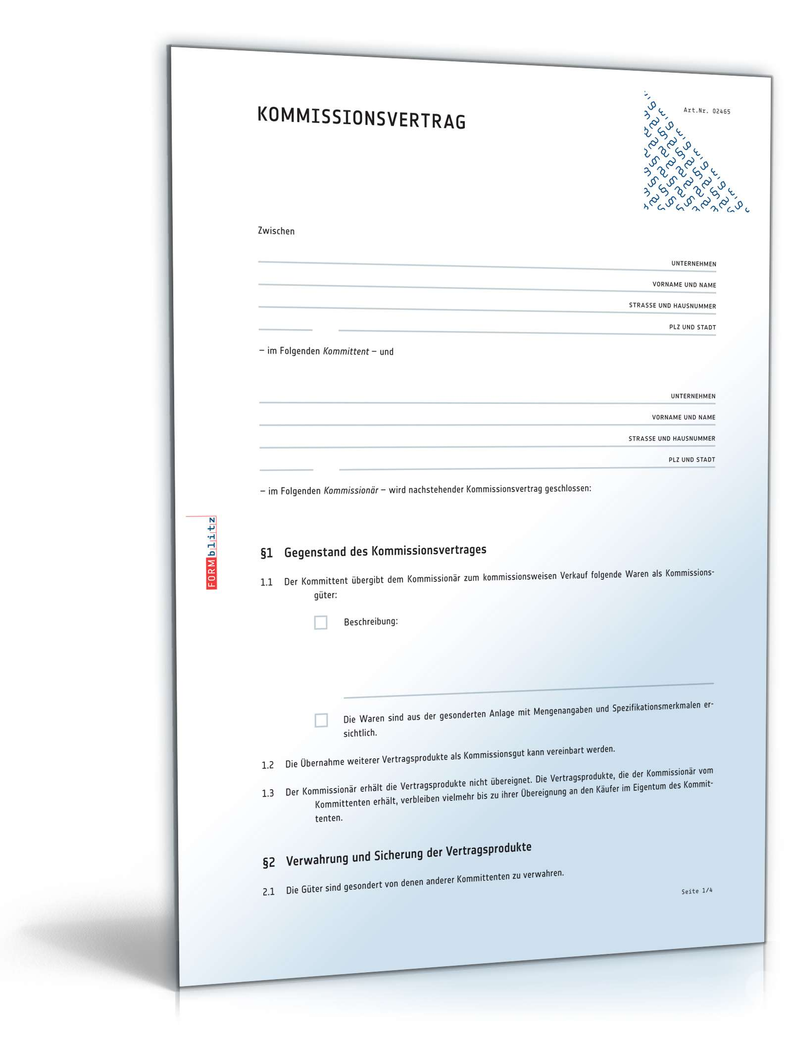 Kommissionsvertrag Rechtssicheres Muster Zum Download