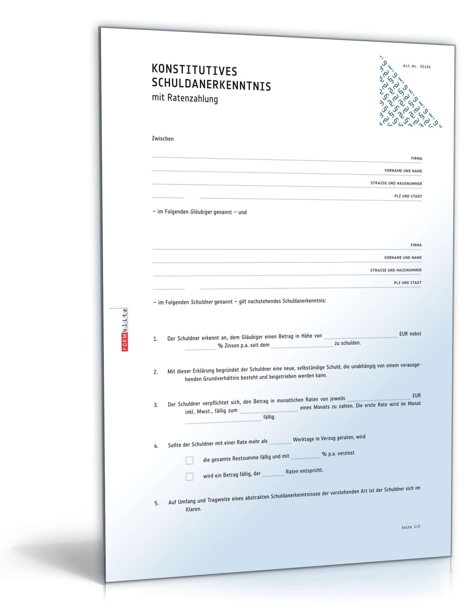Schuldanerkenntnis Konstitutiv Ratenzahlung Vorlage Zum Download