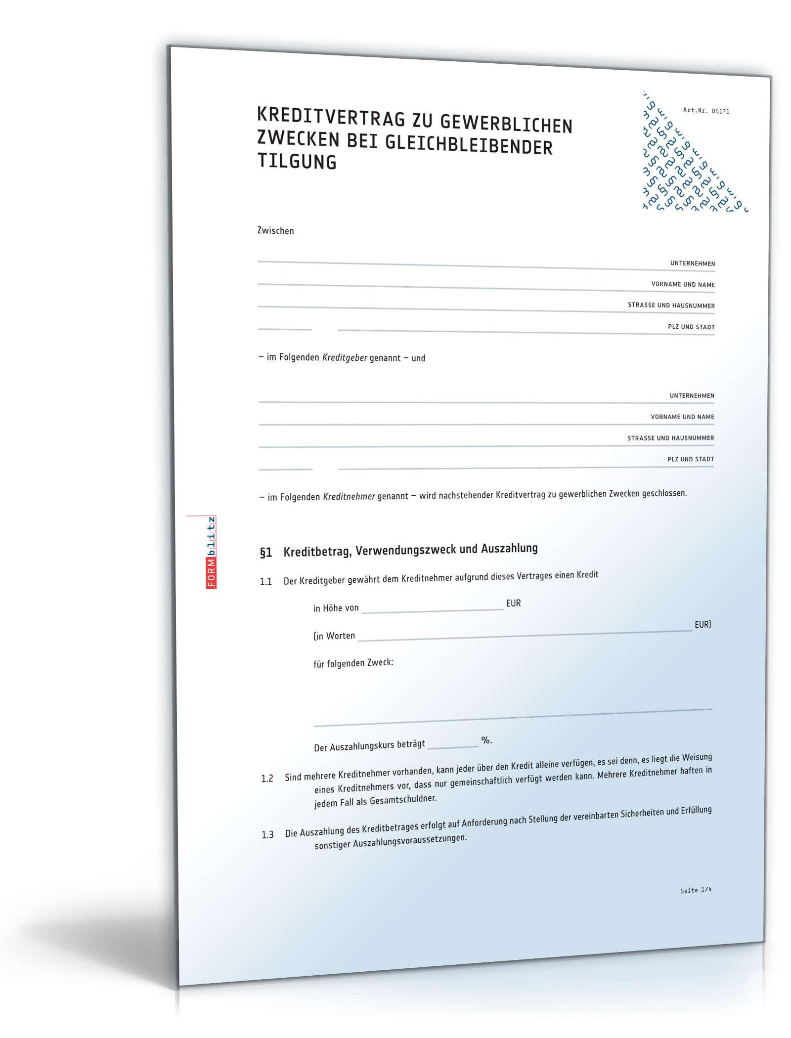 Kreditvertrag gewerblich bei gleichbleibender Tilgung