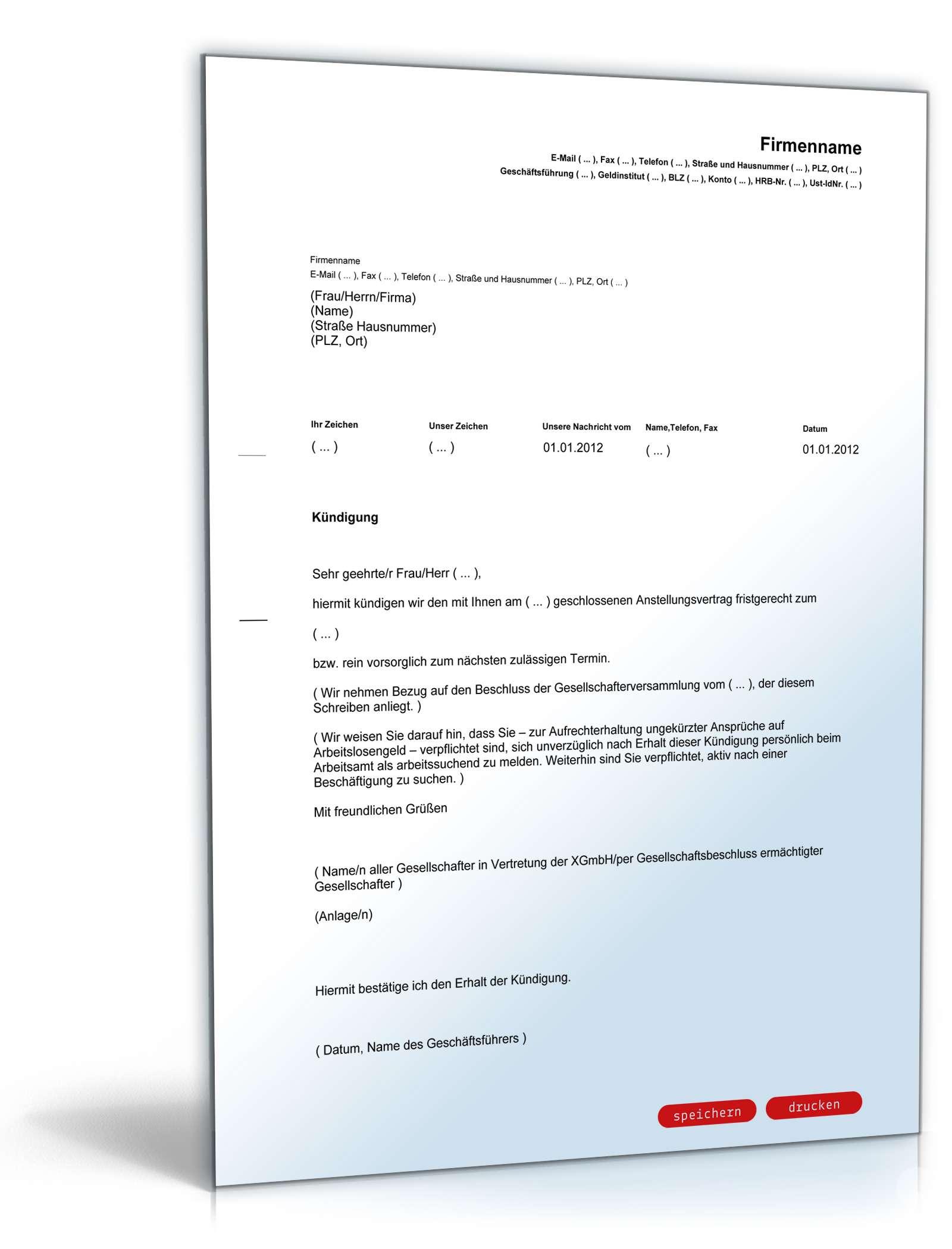 fristgeme kndigung geschftsfhrer rechtssicheres muster - Geschaftsfuhrervertrag Muster