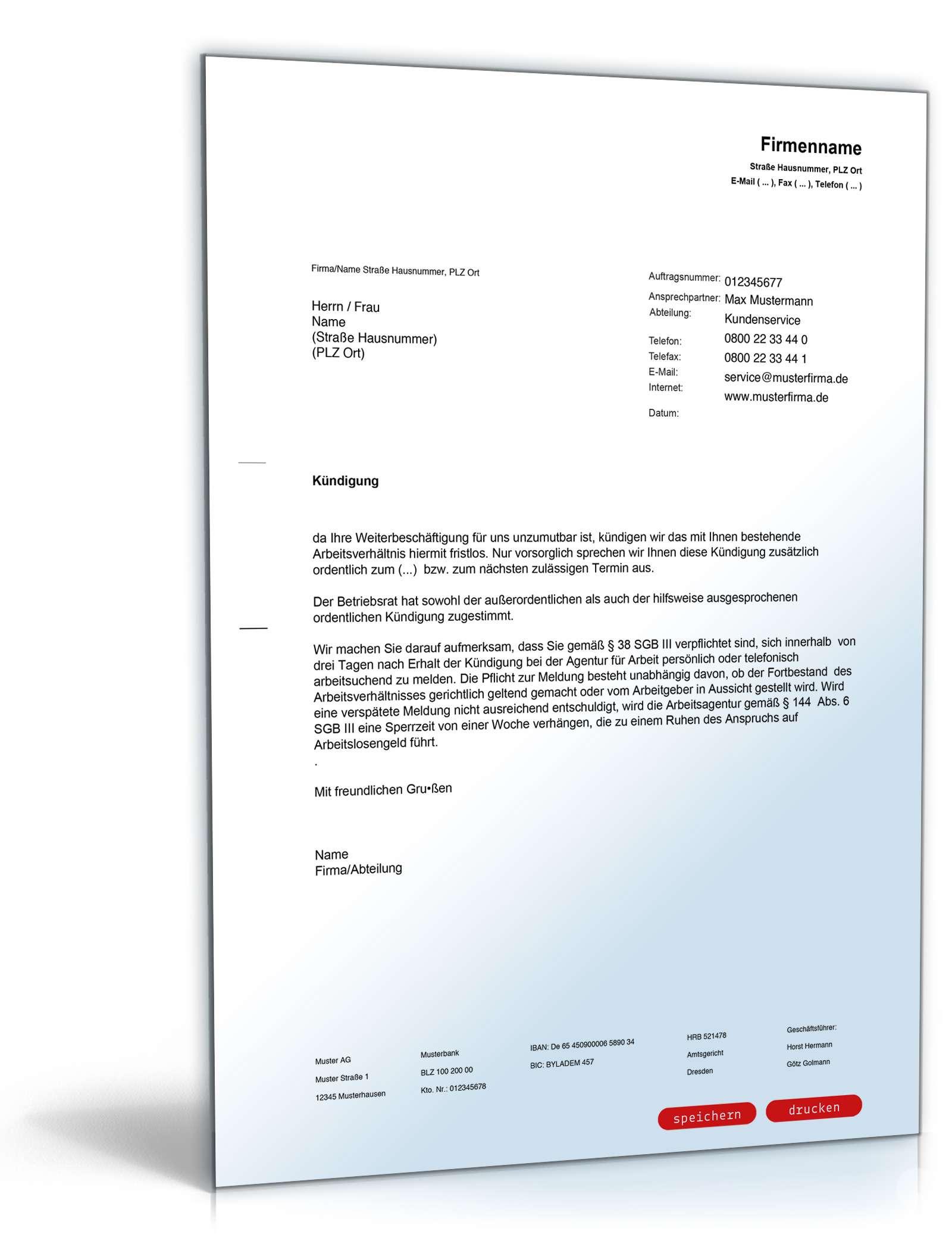 fristlose kndigung durch arbeitgeber - Muster Kundigungsschreiben Arbeitgeber