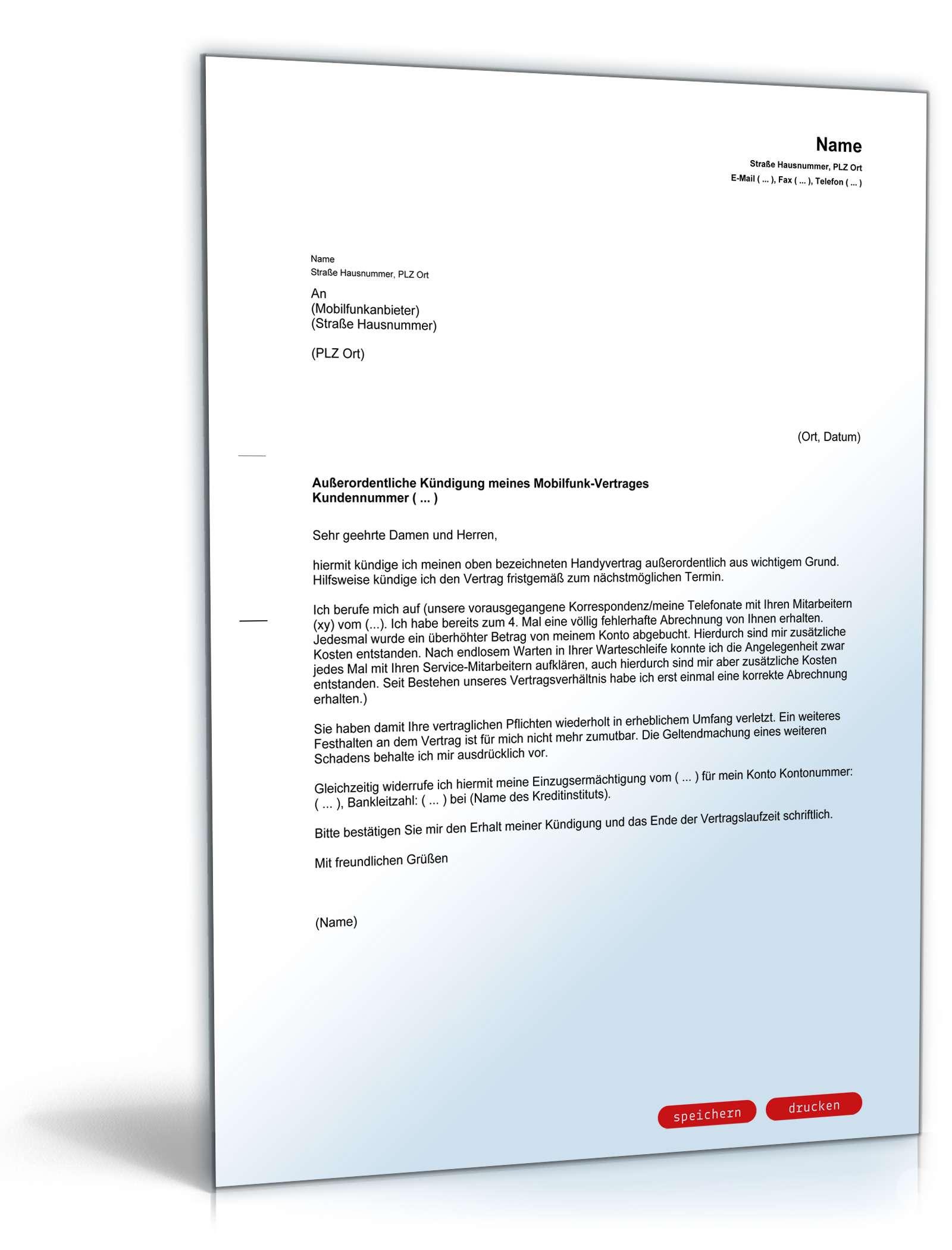 fristlose kndigung handyvertrag - Kundigungsschreiben Handyvertrag Muster
