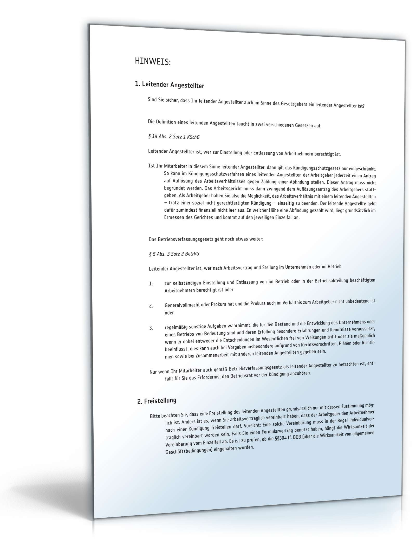 Fristgemäße Kündigung Leitender Angestellter Muster Zum Download