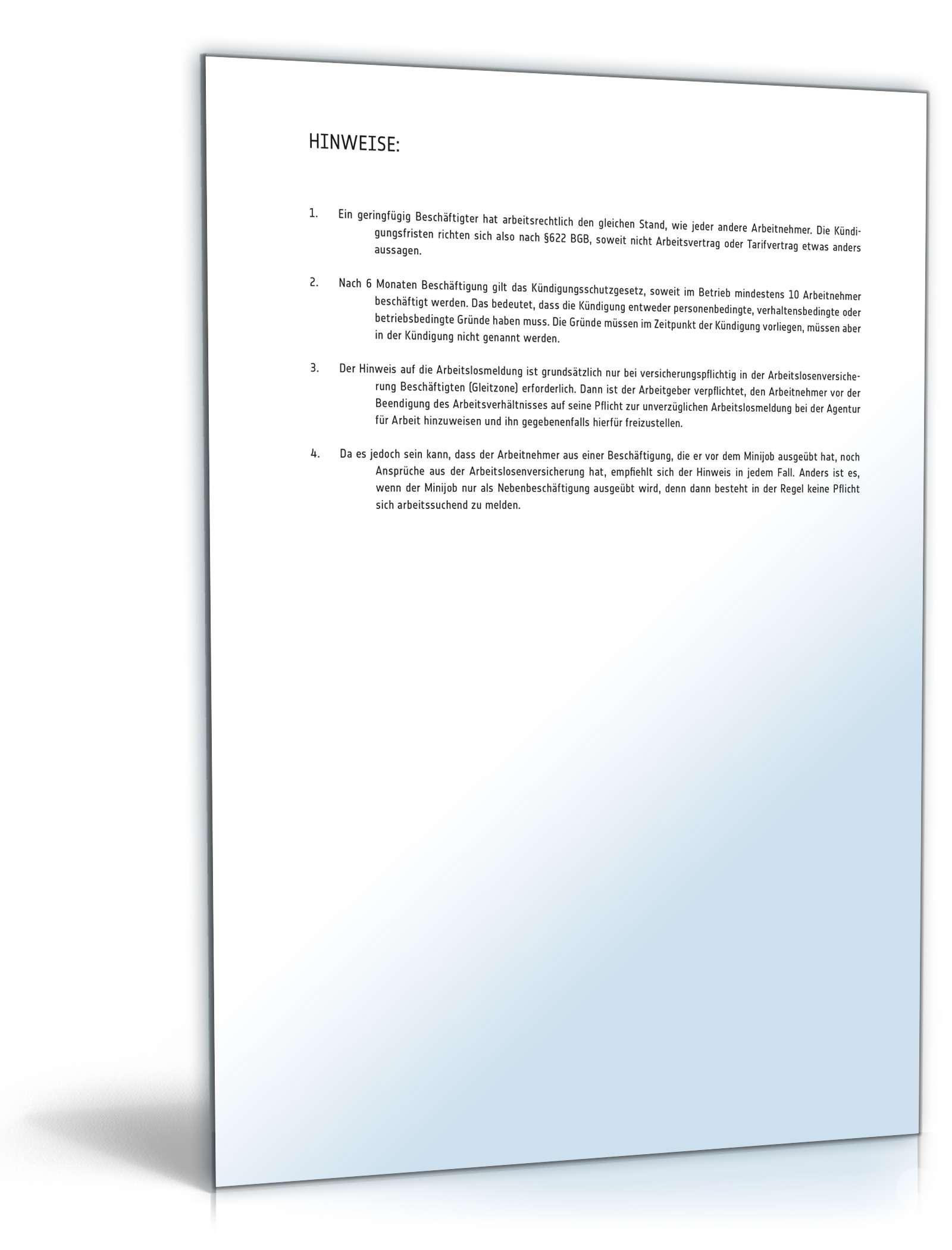 kndigung minijob muster - Kundigung 450 Euro Job Muster