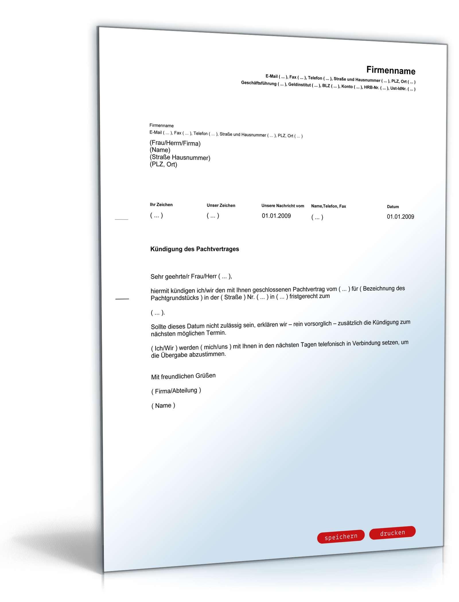 kndigung pachtvertrag - Muster Kundigungsschreiben