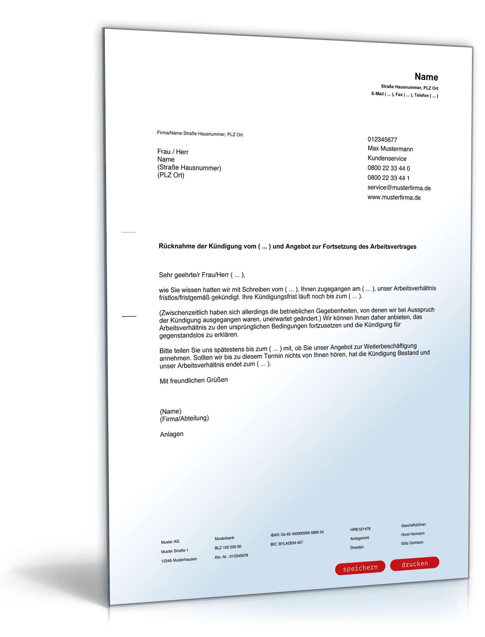Rücknahme Kündigung Arbeitsvertrag Muster Zum Download