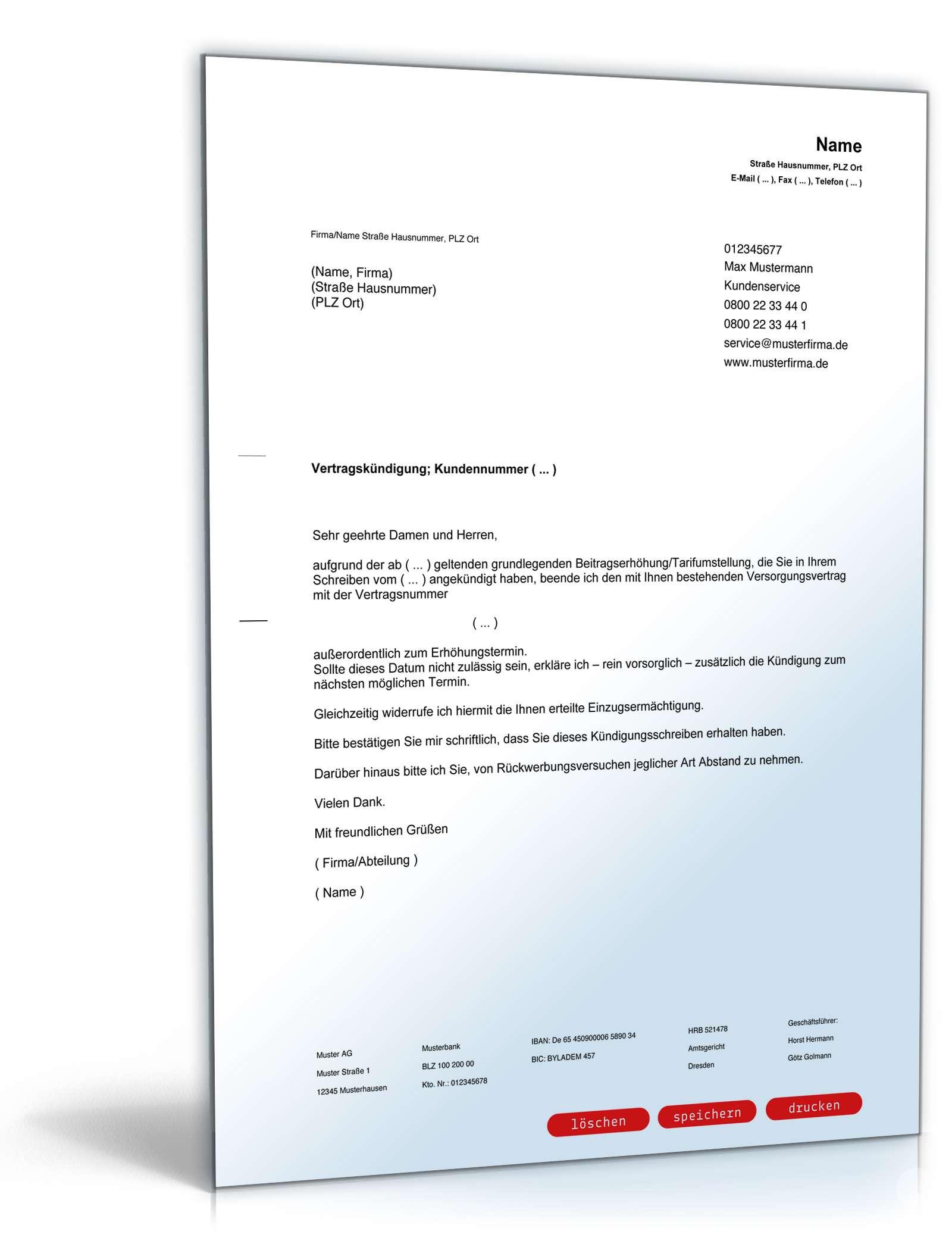 Außerordentliche Kündigung beim Energieversorger | Vorlage zum Download