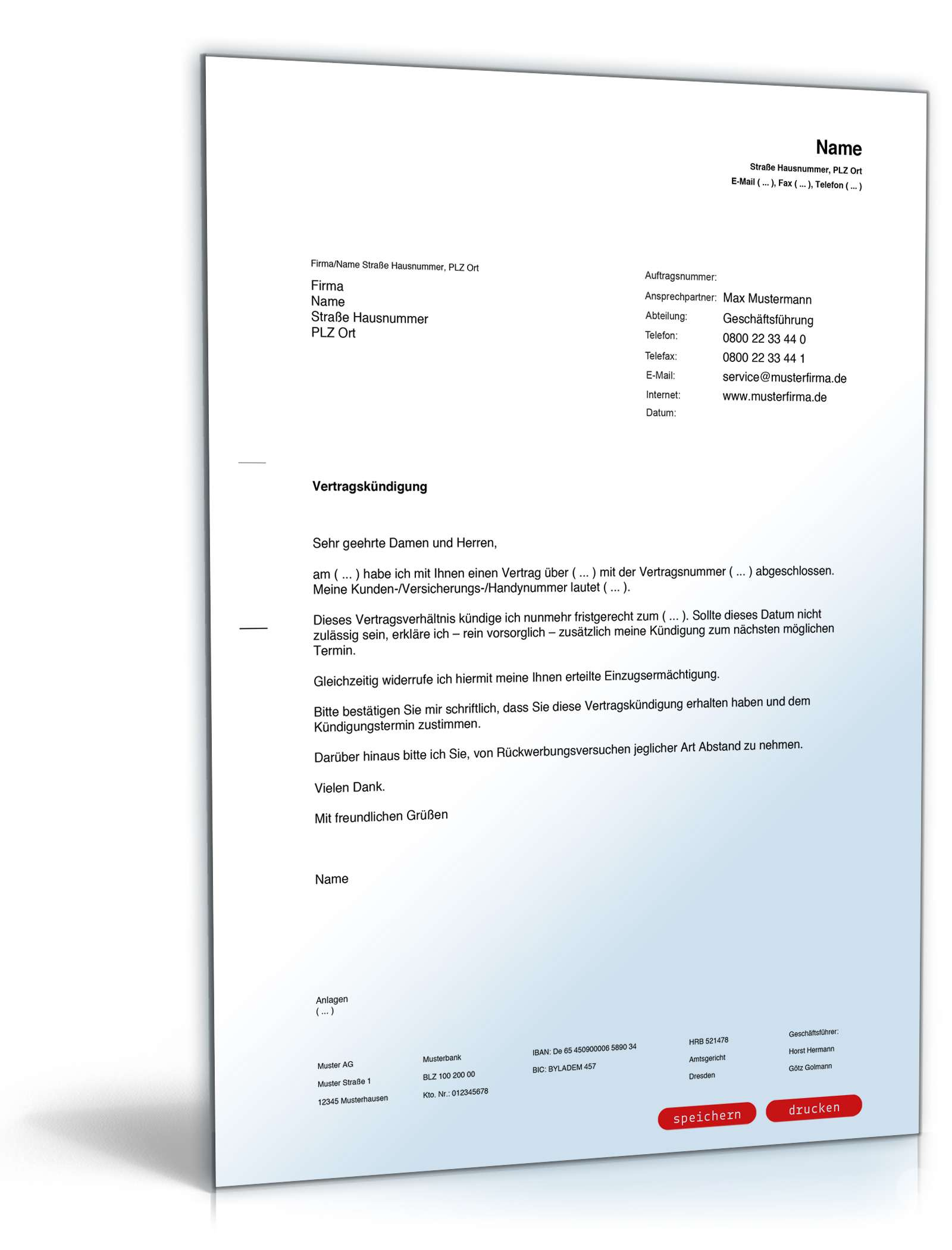 Fristgemäße Kündigung Vertrag Muster Zum Download