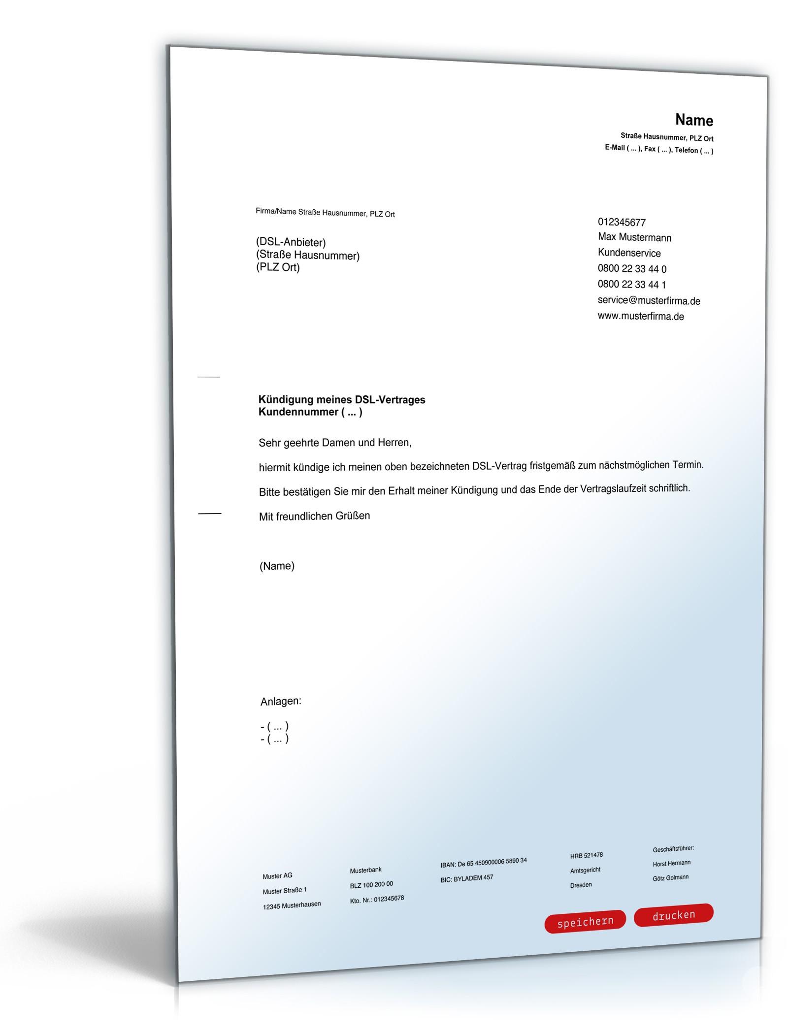 Fristgemäße Kündigung Dsl Vertrag Vorlage Zum Download