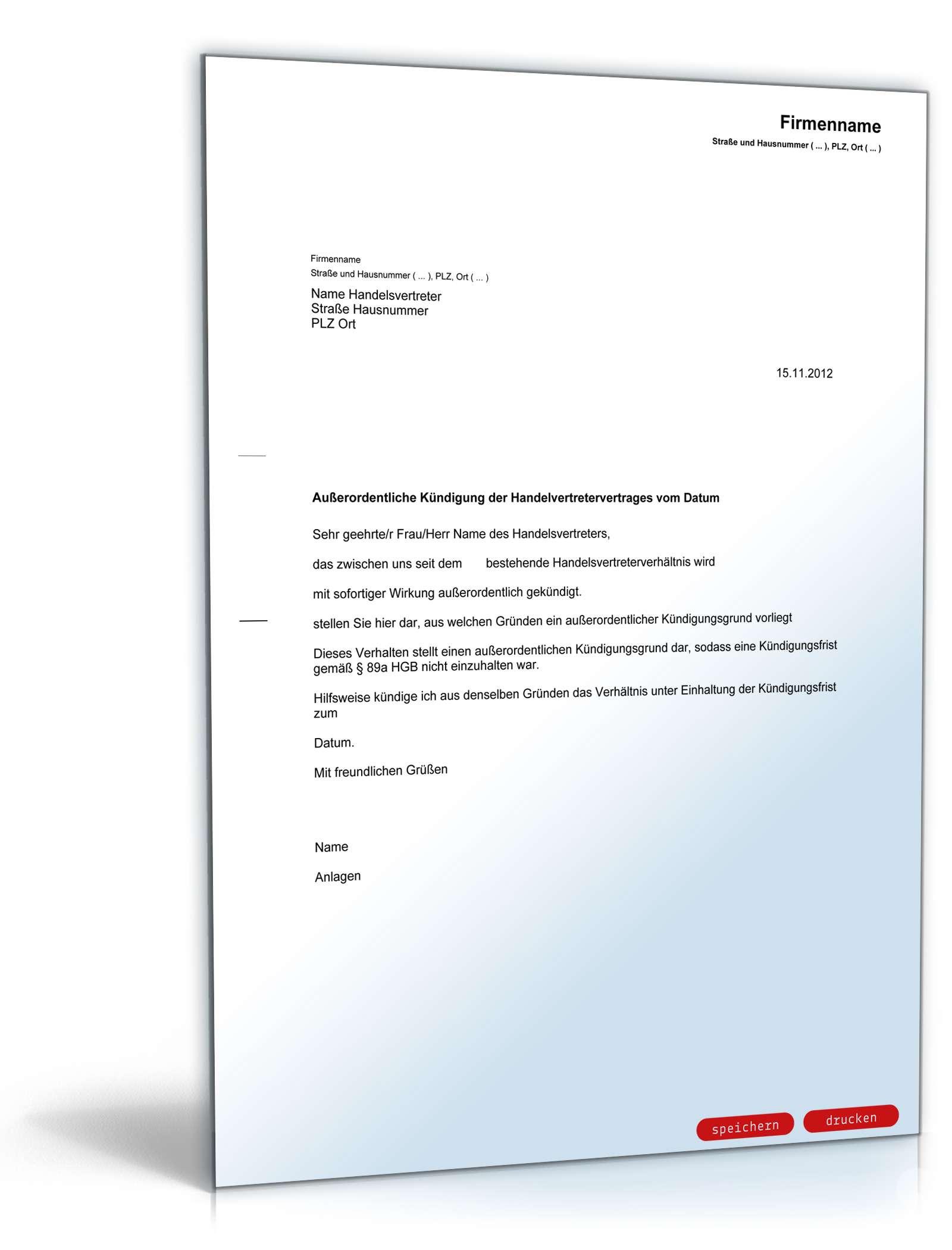 Fristlose Kündigung Handelsvertreter Muster Zum Download