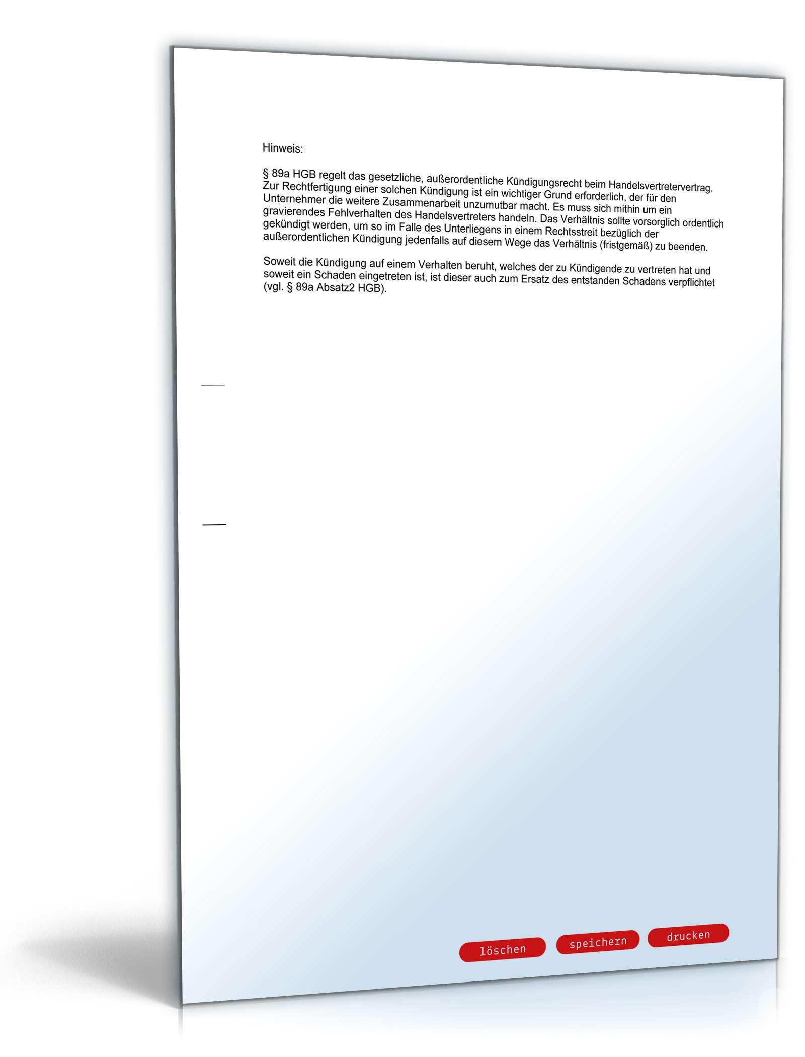 Fristlose Kündigung Handelsvertreter | Muster zum Download