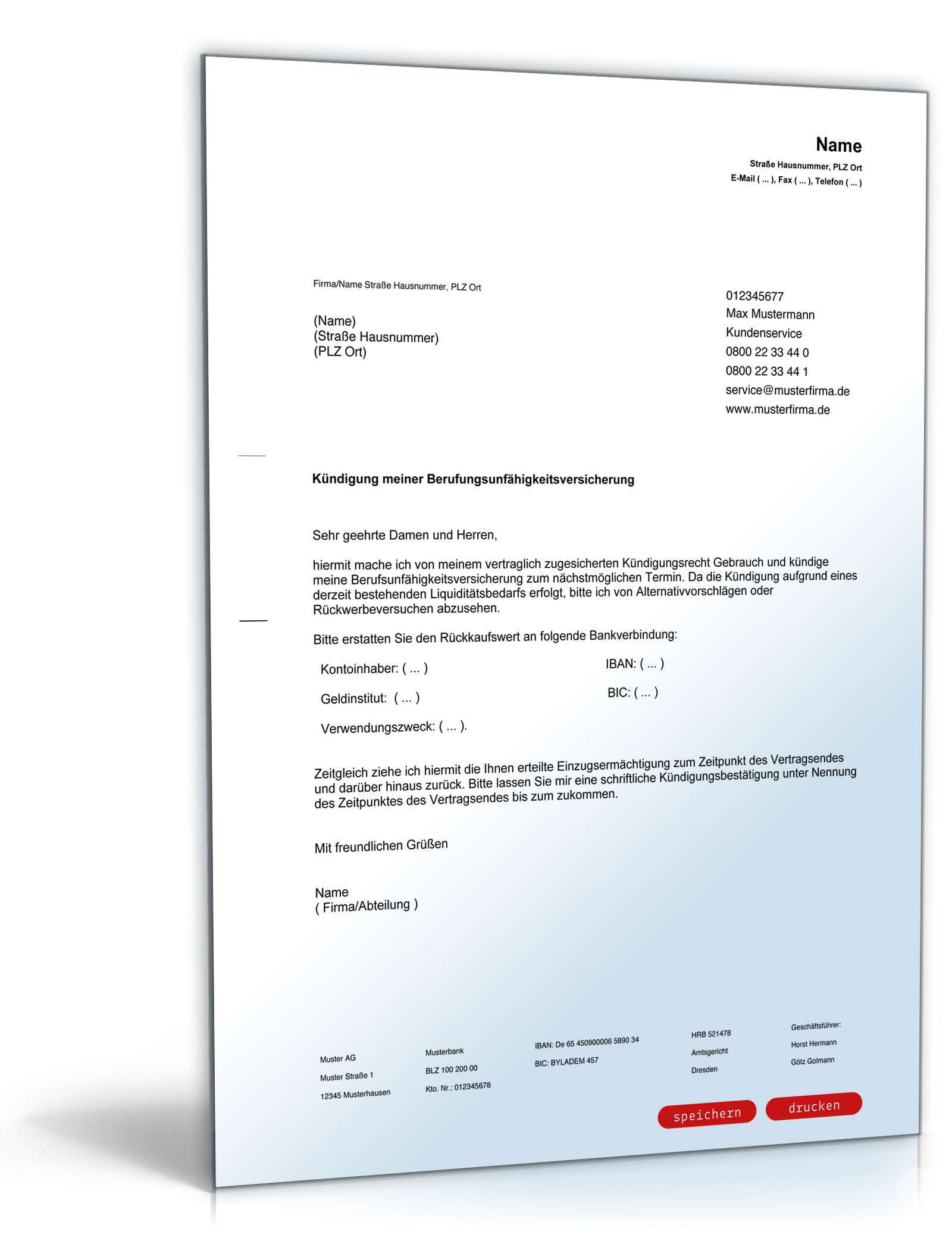 Kündigung Berufsunfähigkeitsversicherung Vorlage Zum Download