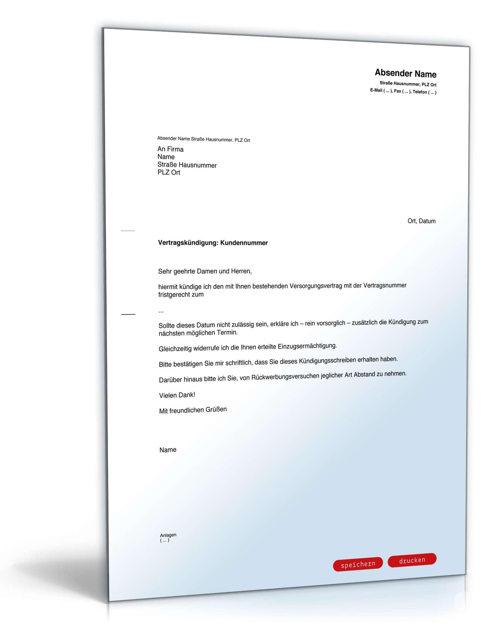 Fristgemäße Kündigung Gasversorger Vorlage Zum Download