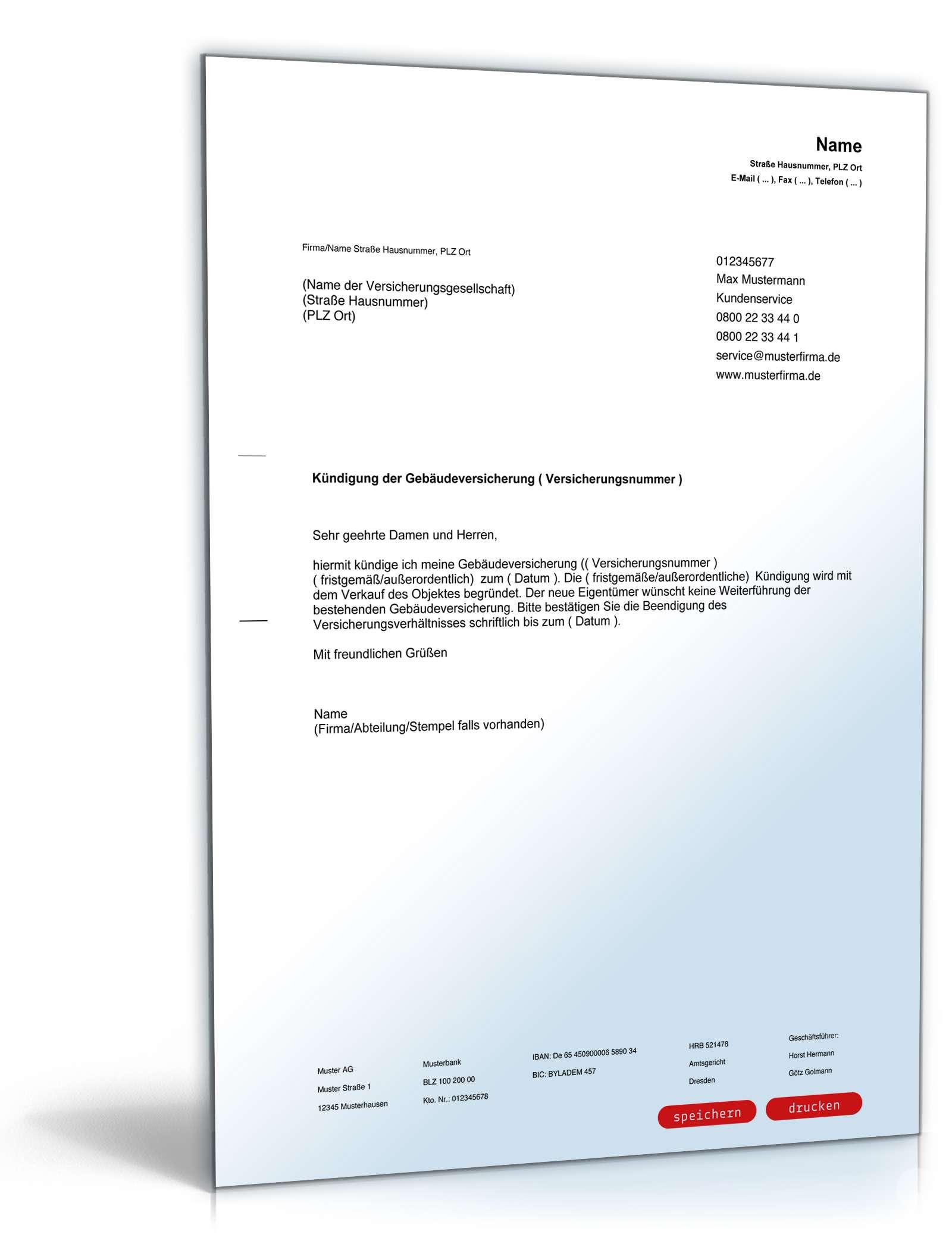 Kündigung Gebäudeversicherung Muster Zum Download