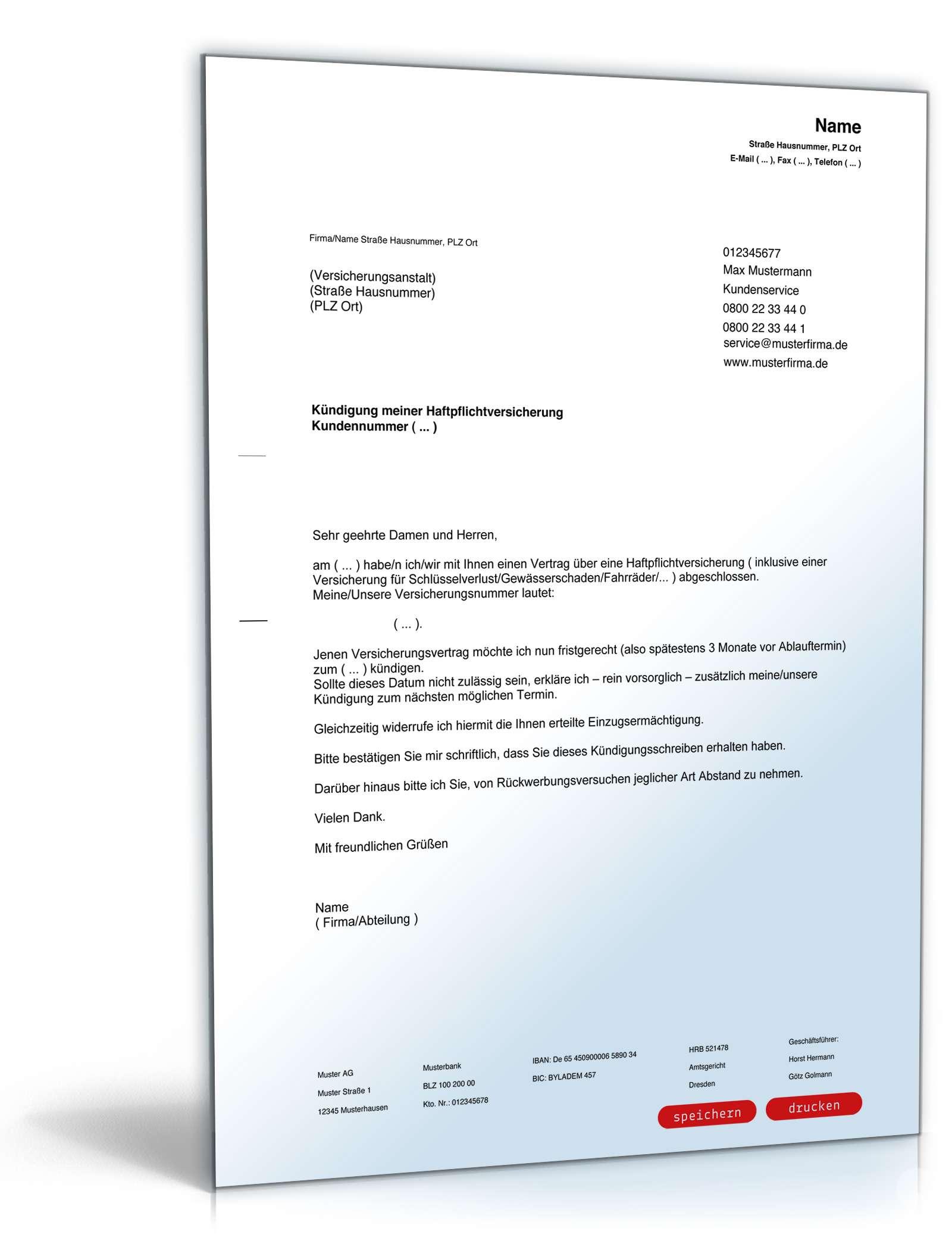 kndigung haftpflichtversicherung - Kundigungsbestatigung Arbeitgeber Muster